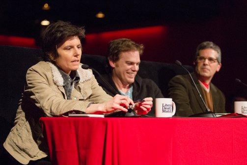 Literary death match judges Tig Notaro, Michael C. Hall and Jonathan Lethem