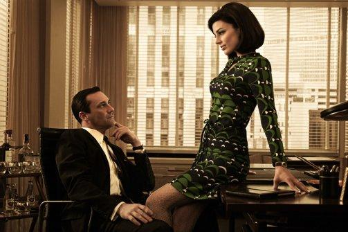 Jon Hamm and Jessica Pare. *Vanity Fair* asks, 'Does anyone think *The Artist* is better than *Mad Men*?'