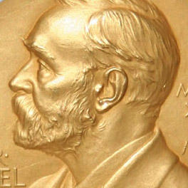 Detail of the Nobel Prize gold medal, featuring the profile of the Prize's benefactor, Swedish tycoon Alfred Nobel
