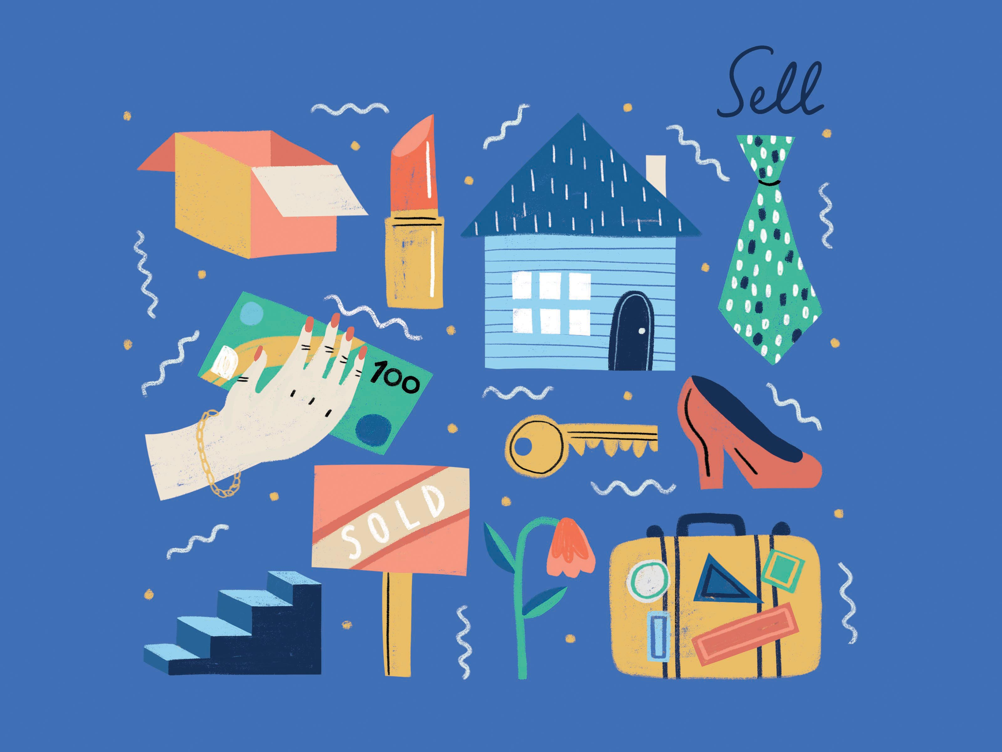 Texta-style illustration of packing boxes, lipstick, a house, tie, a hand holding money, a 'sold' sign, a suitcase covered in stickers, a high-heeled shoe, a key, a staircase and the word 'sell'