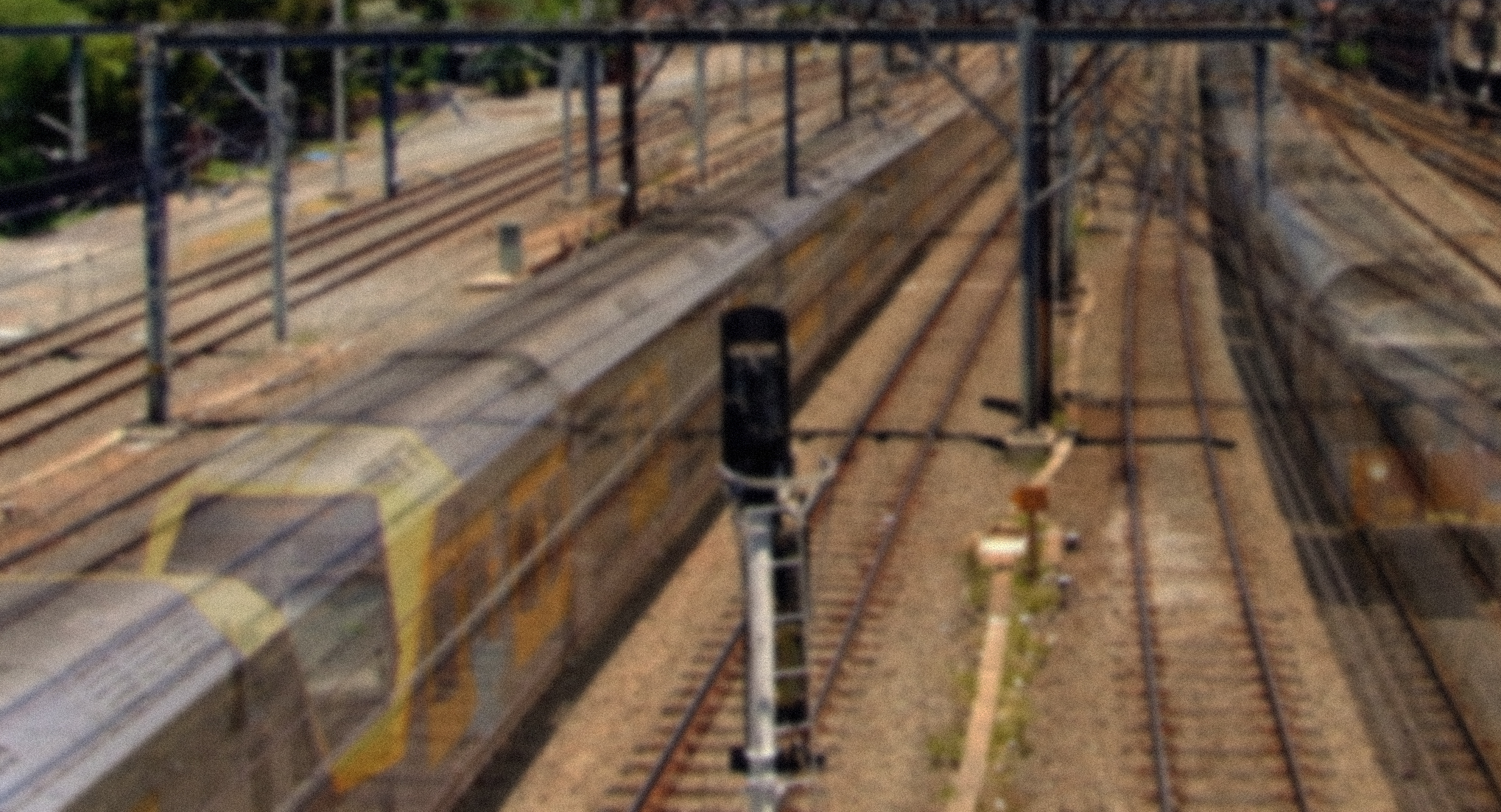 Time-lapse photographs of Sydney trains running along the tracks