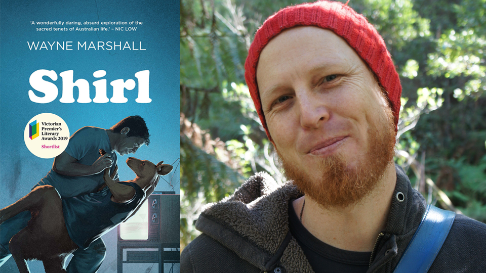 Photograph of Wayne Marshall next to the cover of his book, 'Shirl', featuring an illustration of a man dancing with a kangaroo