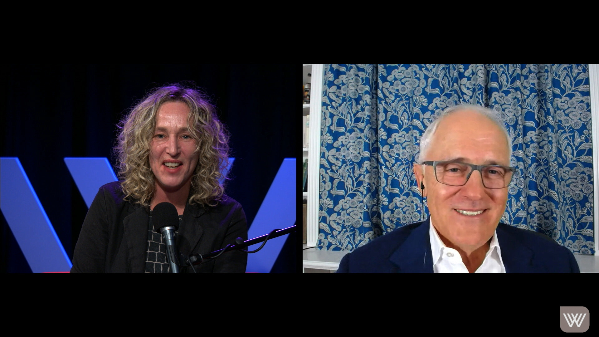 Screenshot of Sally Warhaft and Malcolm Turnbull in conversation