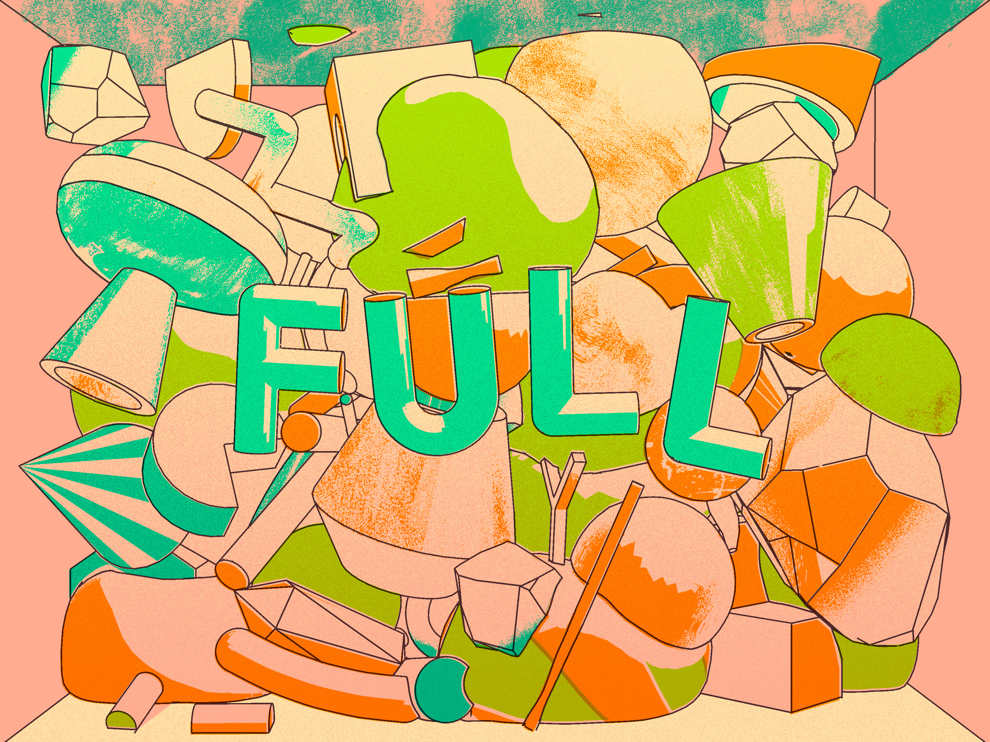 Illustration of the letters F-U-L-L amongst a pile of rocks, pipes and other detritus