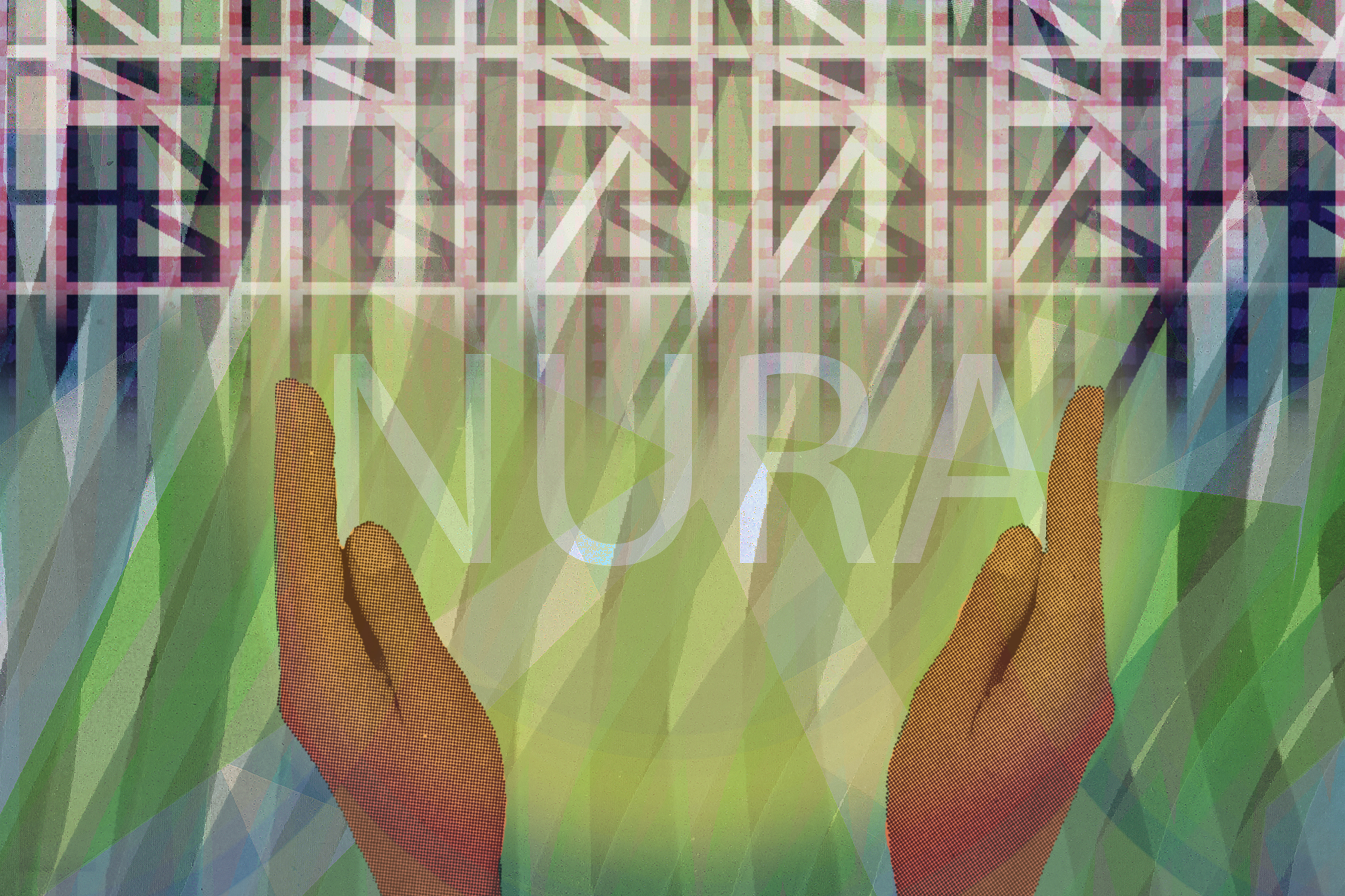 An illustration featuring two hands which rest either side of the word 'NURA', over a collage background of greenery meeting an urban environment