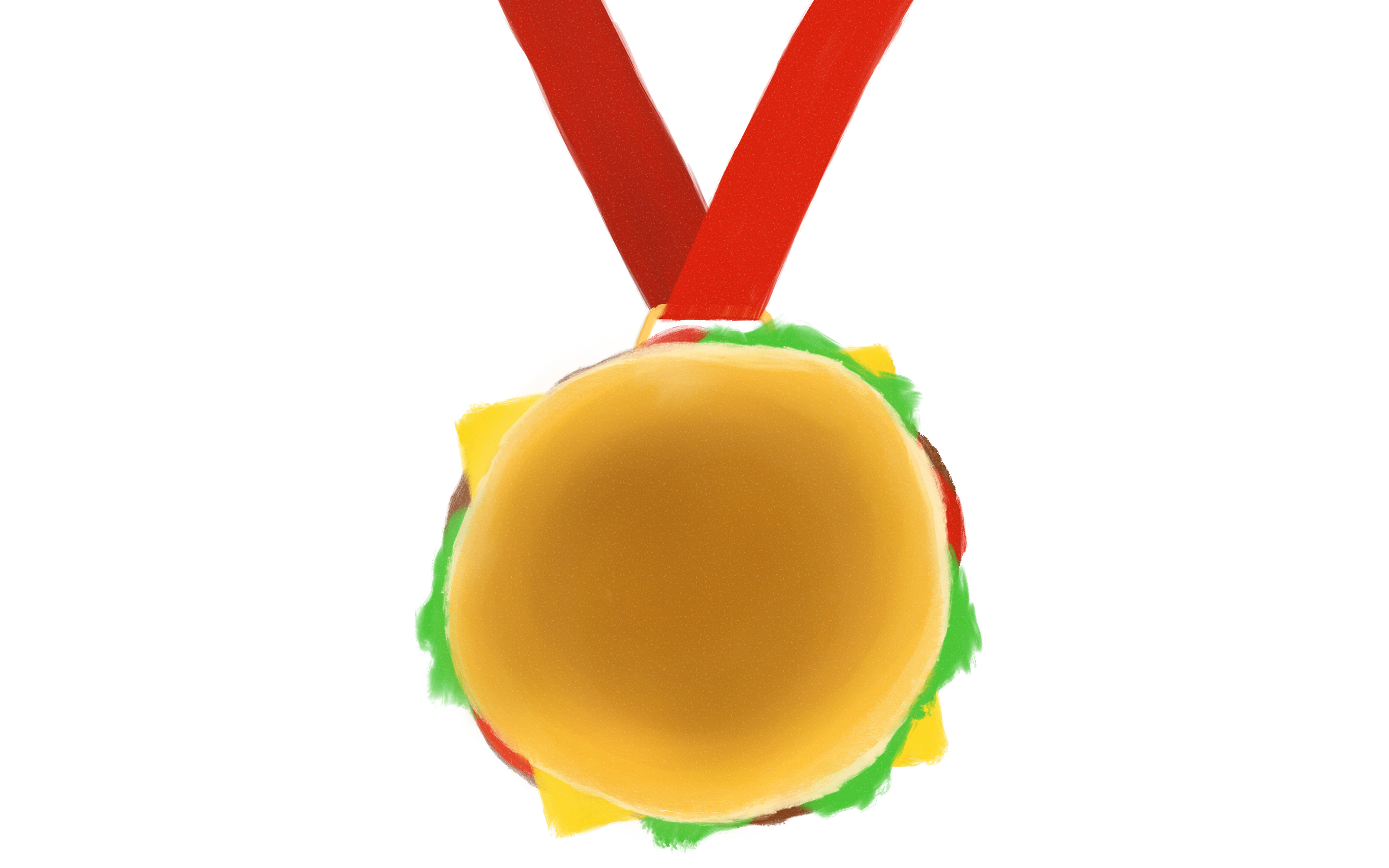 Illustration of a McDonald's cheeseburger mounted to a ribbon, like a medal