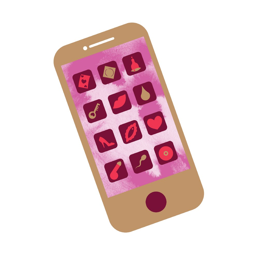 illustration of a smartphone with sexy app icons