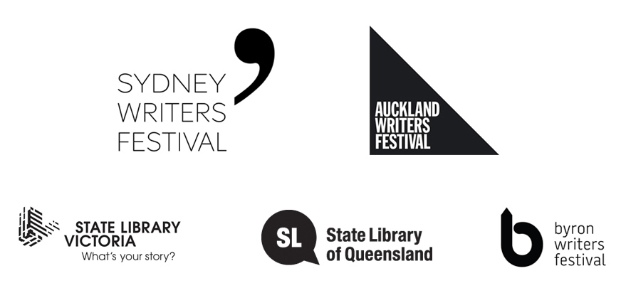 Logos of partner organisations: Sydney Writers Festival, Auckland Writers Festival, State Library Victoria, State Library of Queensland and Byron Writers Festival
