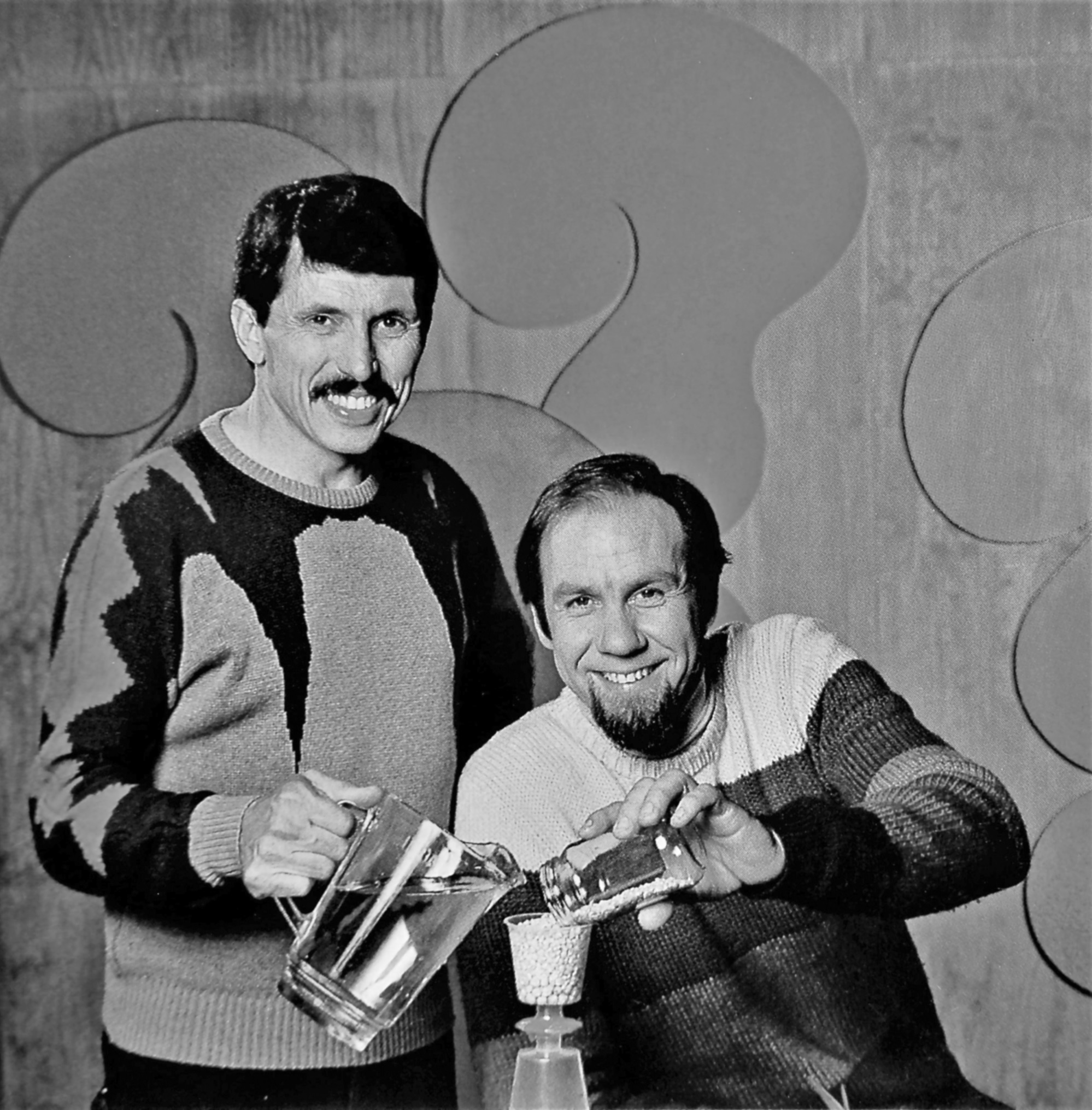 Black and white photograph of Rob Morrison and Dean Hutton from 'The Curiosity Show'