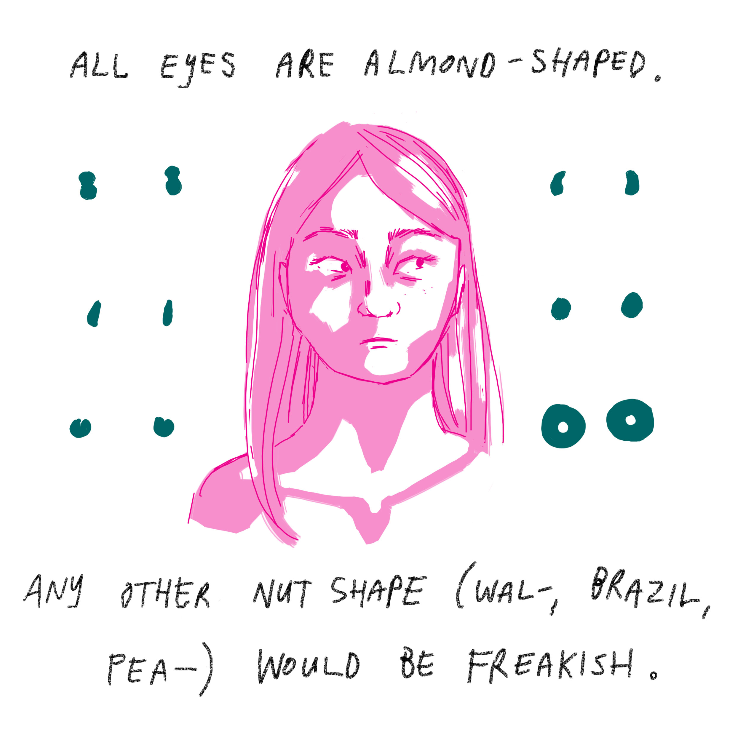'All eyes are almond-shaped. Any other nut shape (wal-, brazil, pea-) would be freakish.'