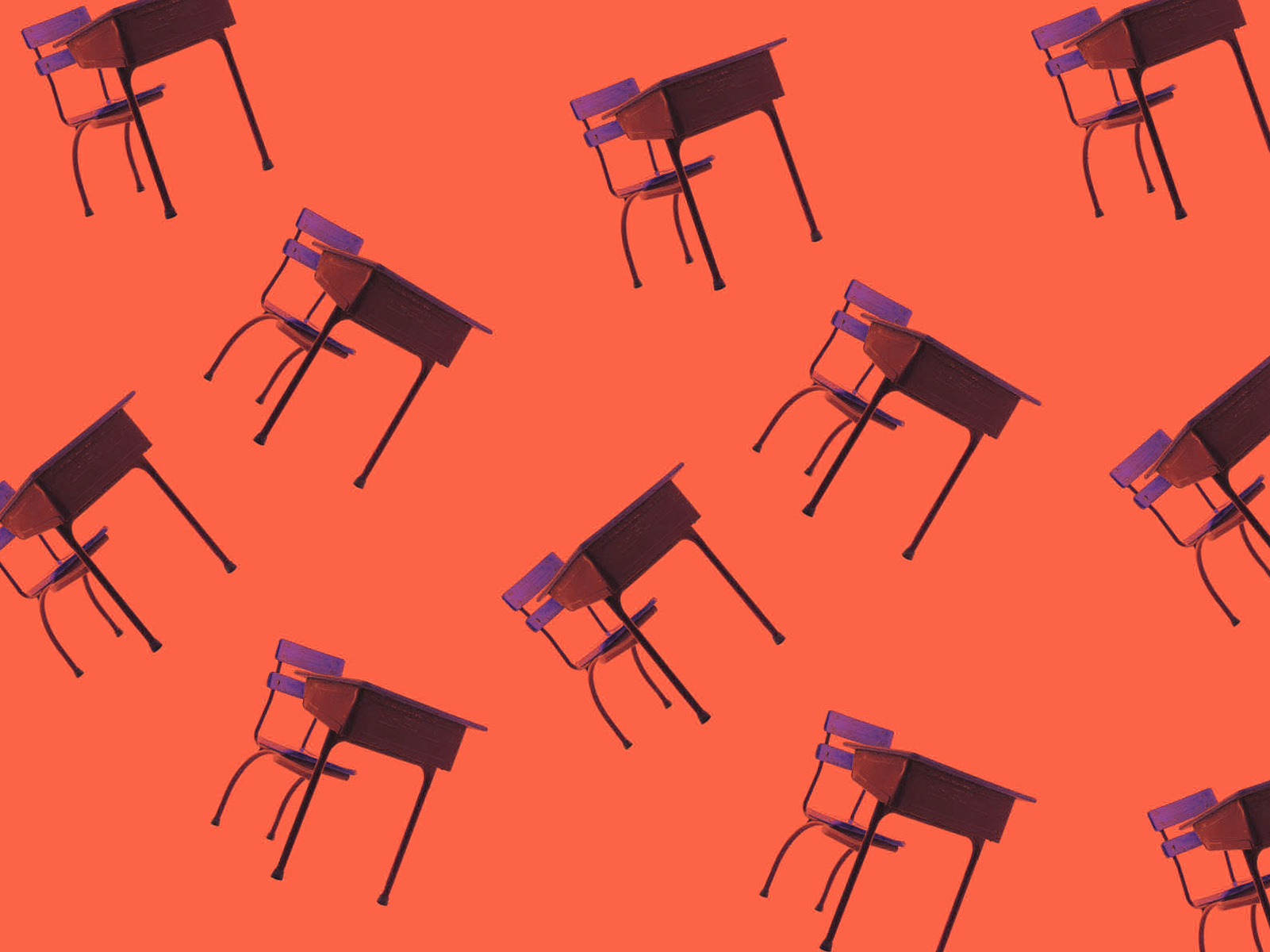 Illustration of desks against an orange background