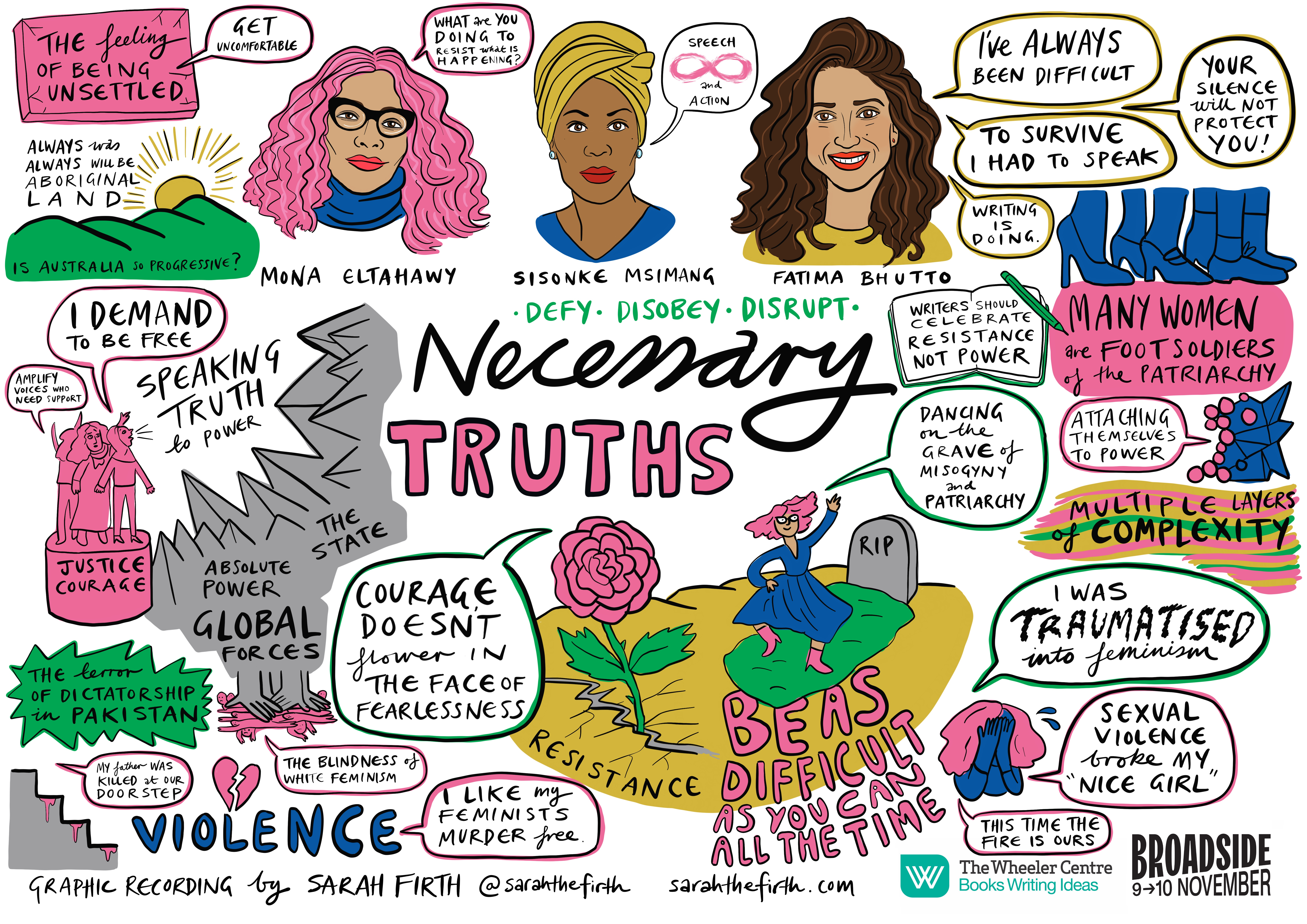 Illustrated portraits of Sisonke Msimang, Fatima Bhutto and Mona Eltahawy, with cartoons and quotes reflecting their onstage conversation