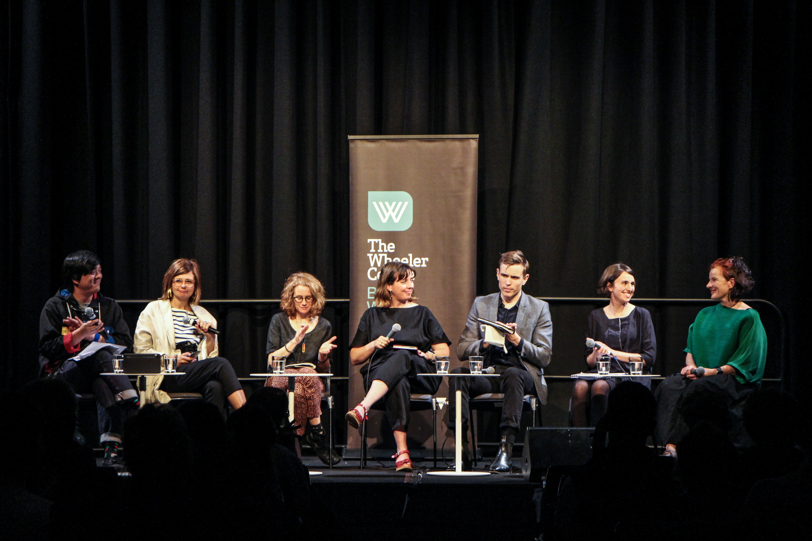 Photo of the panel – judges Jon Tjhia, Sophie Black, Julie Shapiro, Kate Montague and Eric George, with Melanie Thomson and Penelope Bartlau