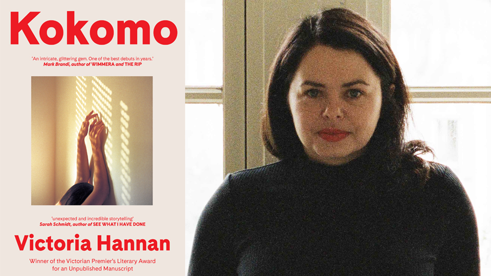 Photograph of Victoria Hannan next to the cover of her book, 'Kokomo', featuring a cropped photograph of a woman leaning against a wall, holding her arms high, inset with a light red background surrounding it