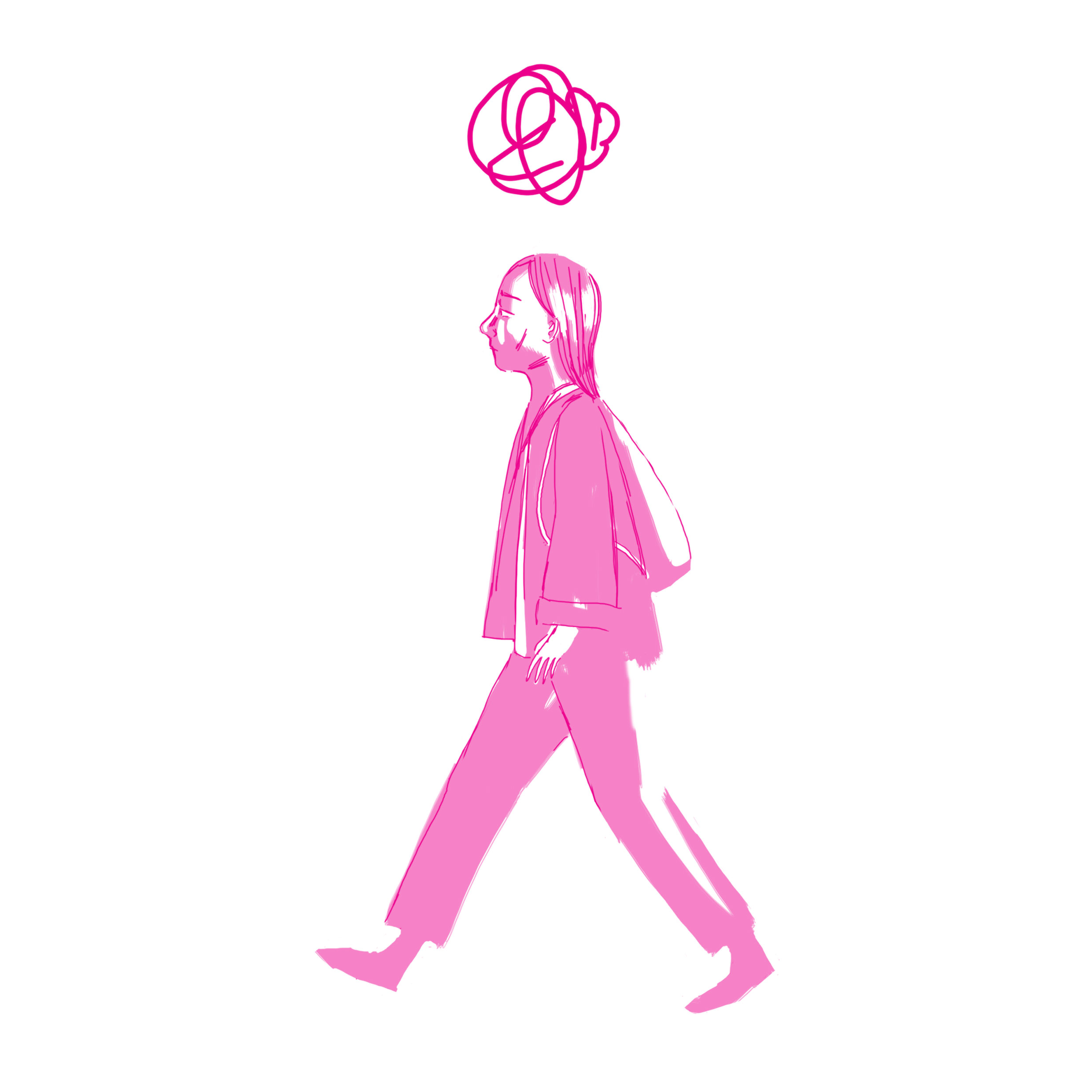 Illustration of a person walking side-on, a scribble above their head.