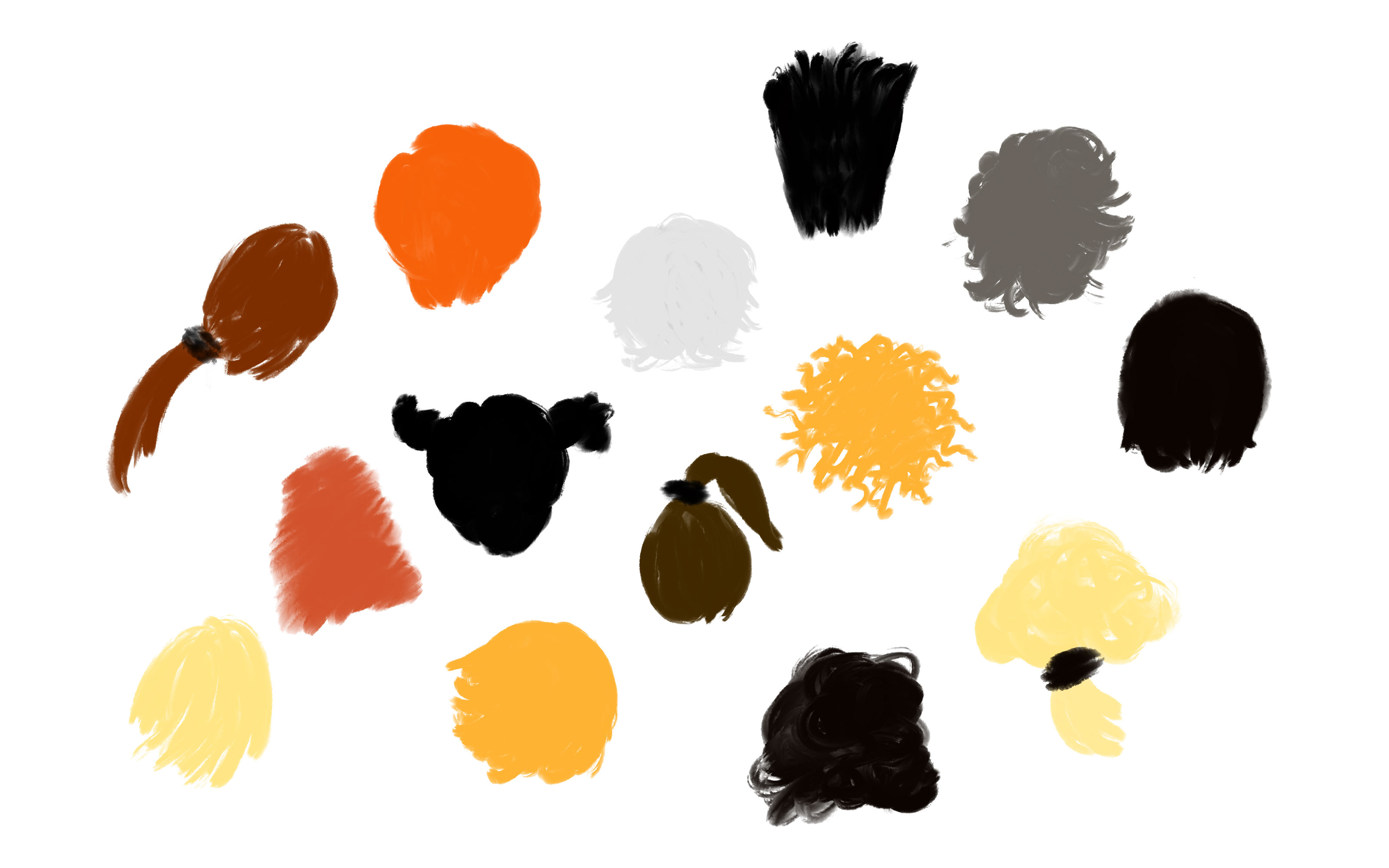 Illustration of different colours and styles of hair