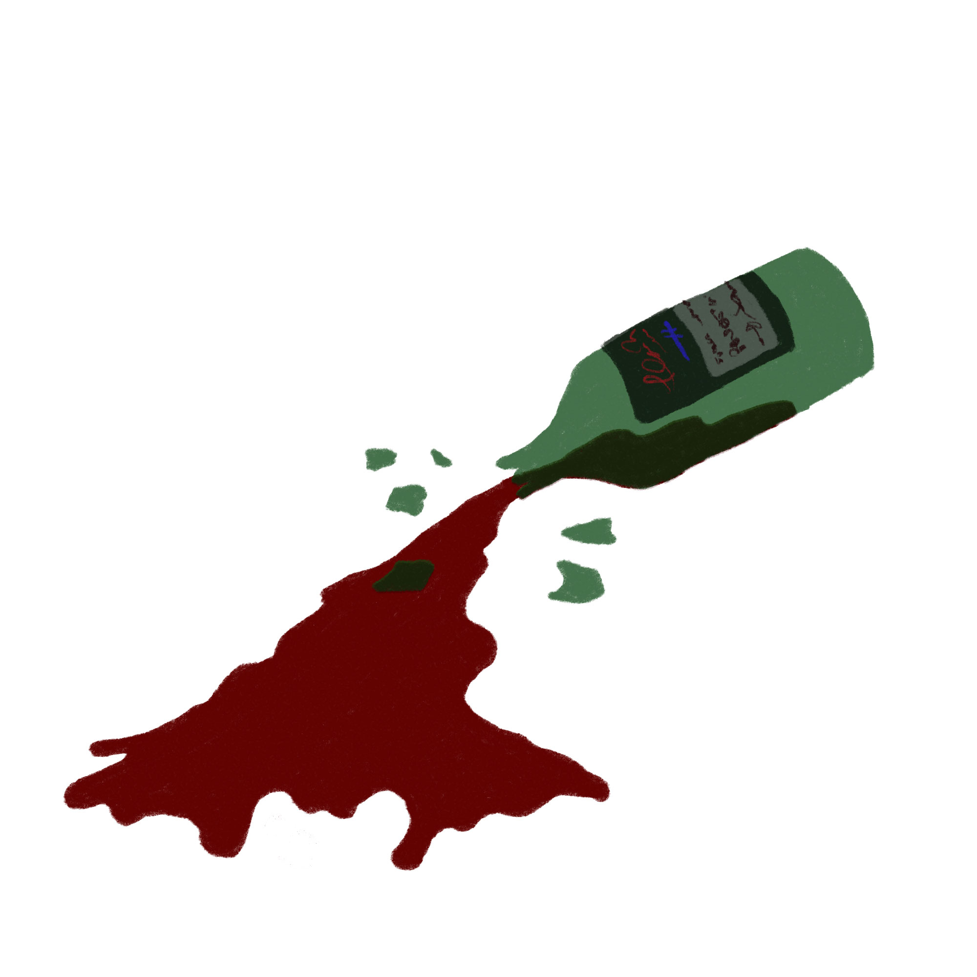 Illustration of a cracked, spilled bottle of wine laying on the ground
