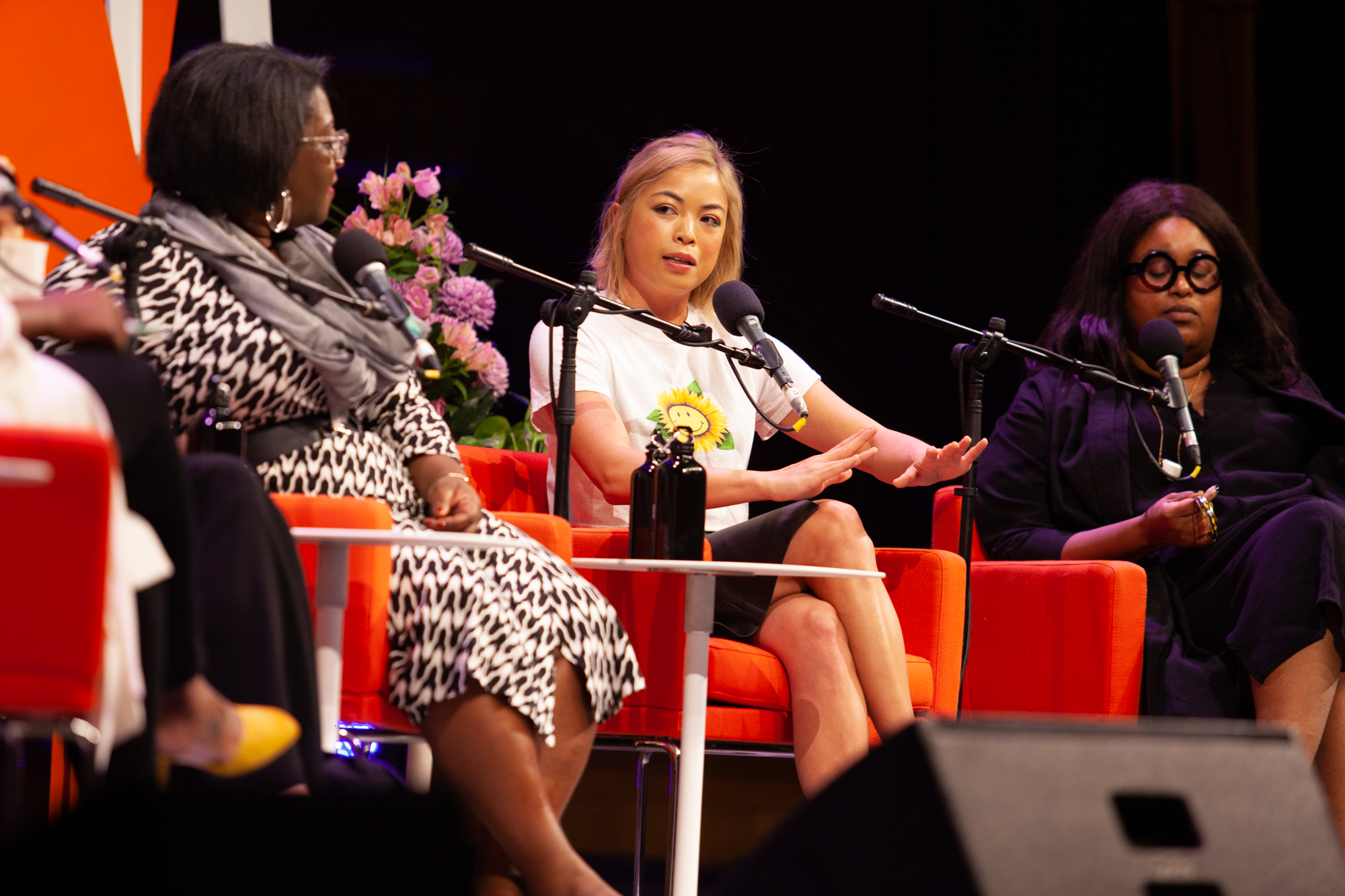 Photo of Tressie McMillan Cottom, Jia Tolentin and Aminatou Sow on stage