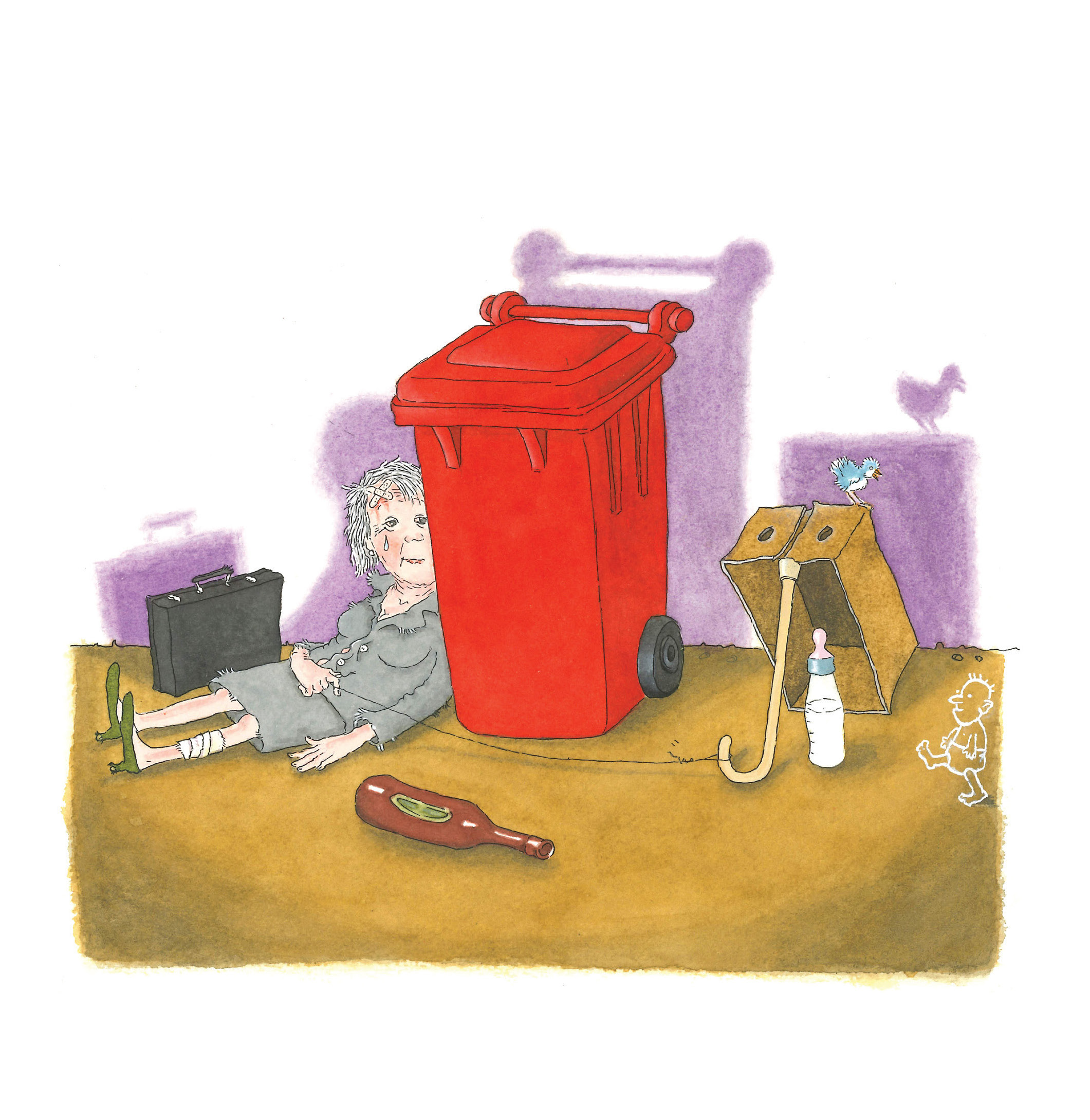 Illustration of a woman hiding behind a garbage bin, ready to pull a piece of string that will set off a trap set for a baby