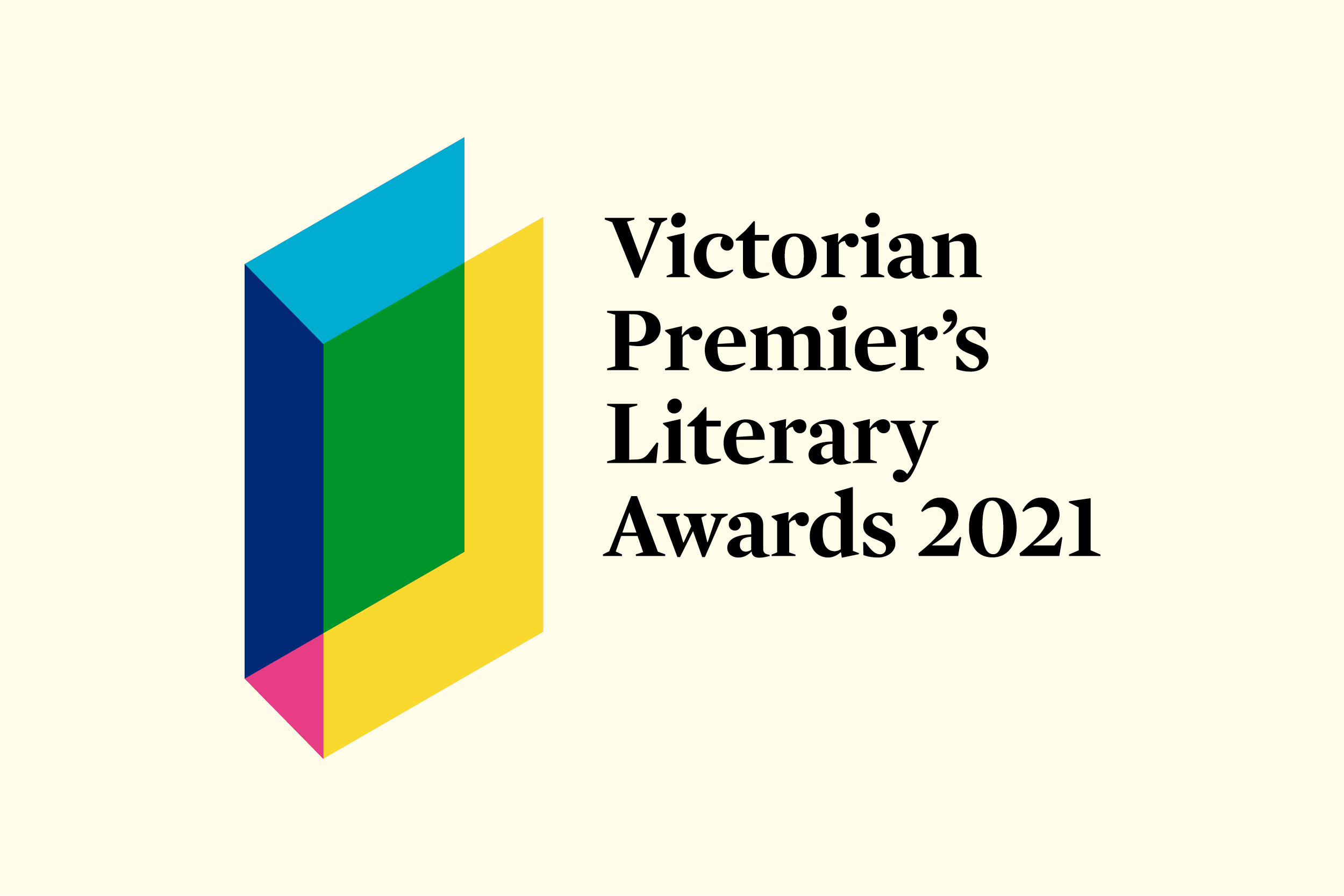 VPLA 2021 Artwork with rainbow outlines of a book next to the words 'Victorian Premier's Literary Awards 2021'