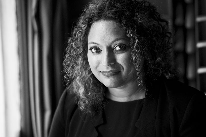 Black and white photograph of writer Roanna Gonsalves