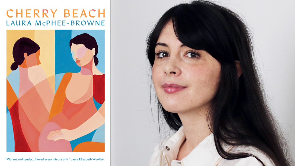 Photograph of Laura McPhee-Browne next to the cover of her book, 'Cherry Beach', which features a mosaic of two women side-by-side