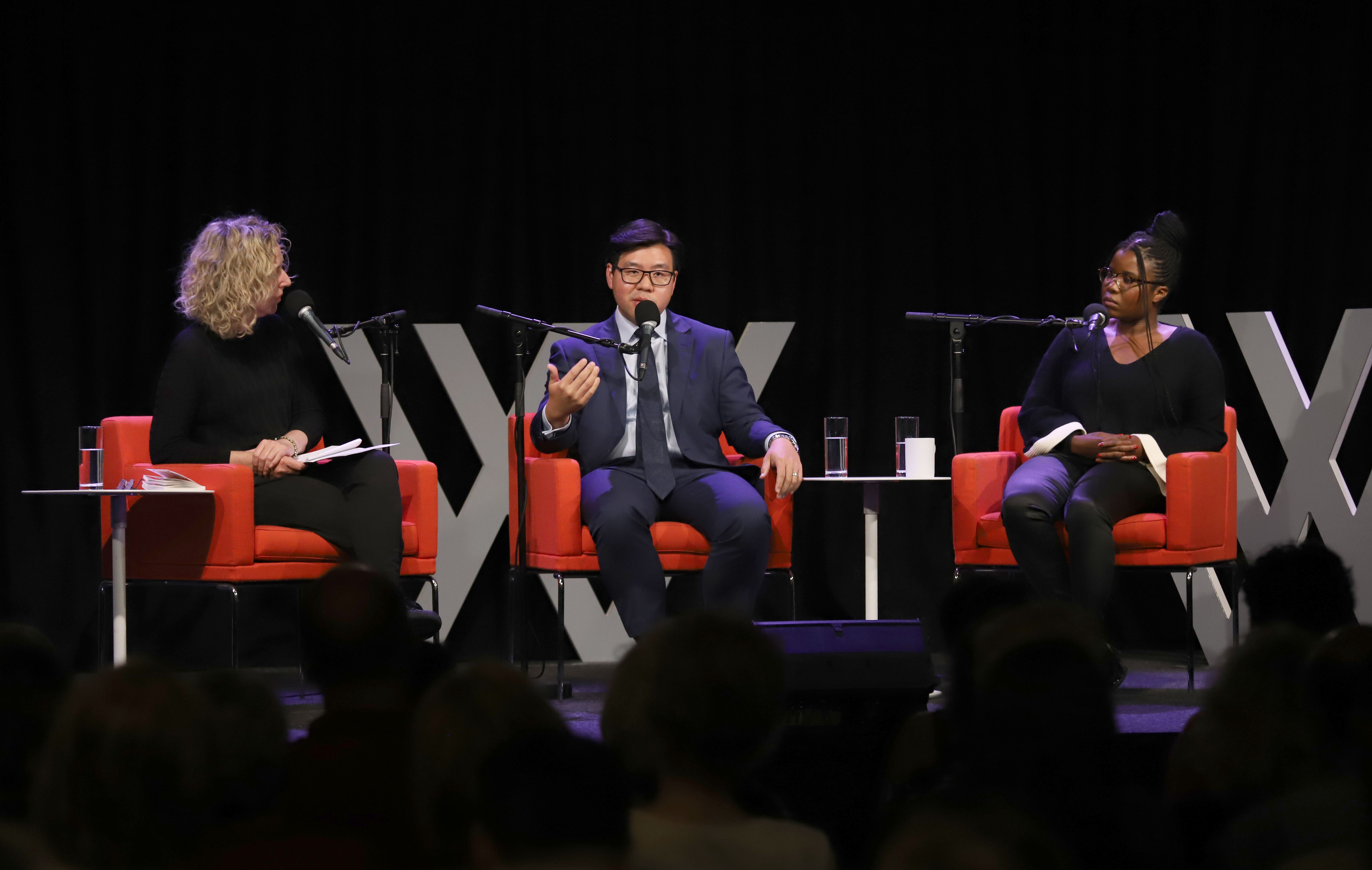 Photo of the panel – Sally Warhaft, Tim Soutphommasane and Santilla Chingaipe