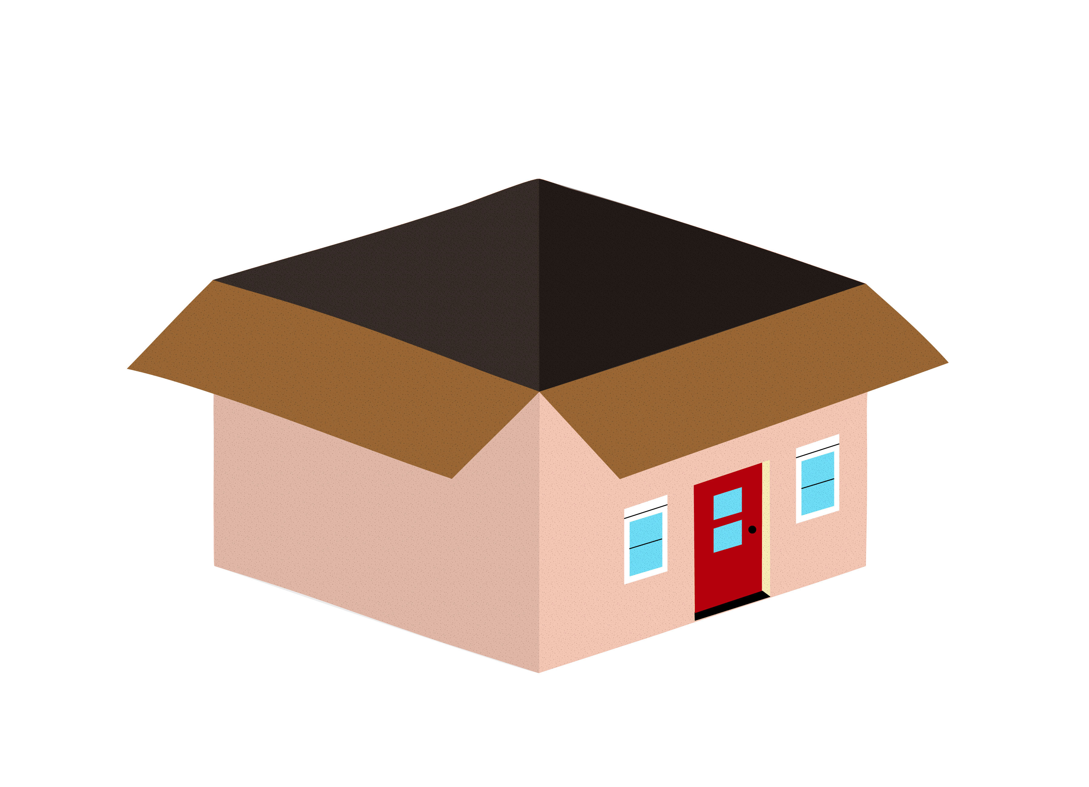 Illustration of a moving box, with a front door and windows on one side