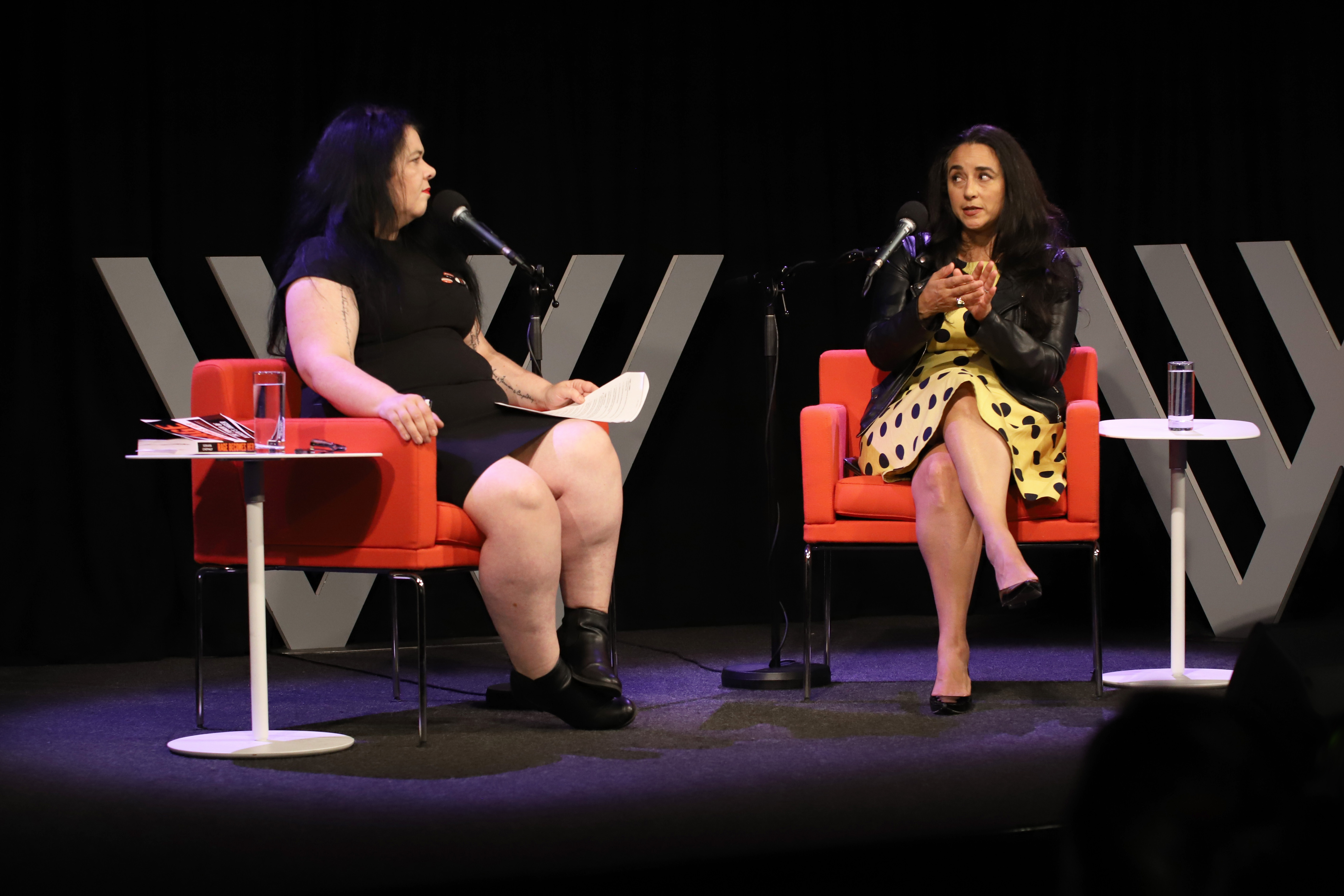Photograph of Amy Gray and Soraya Chemaly at the Wheeler Centre