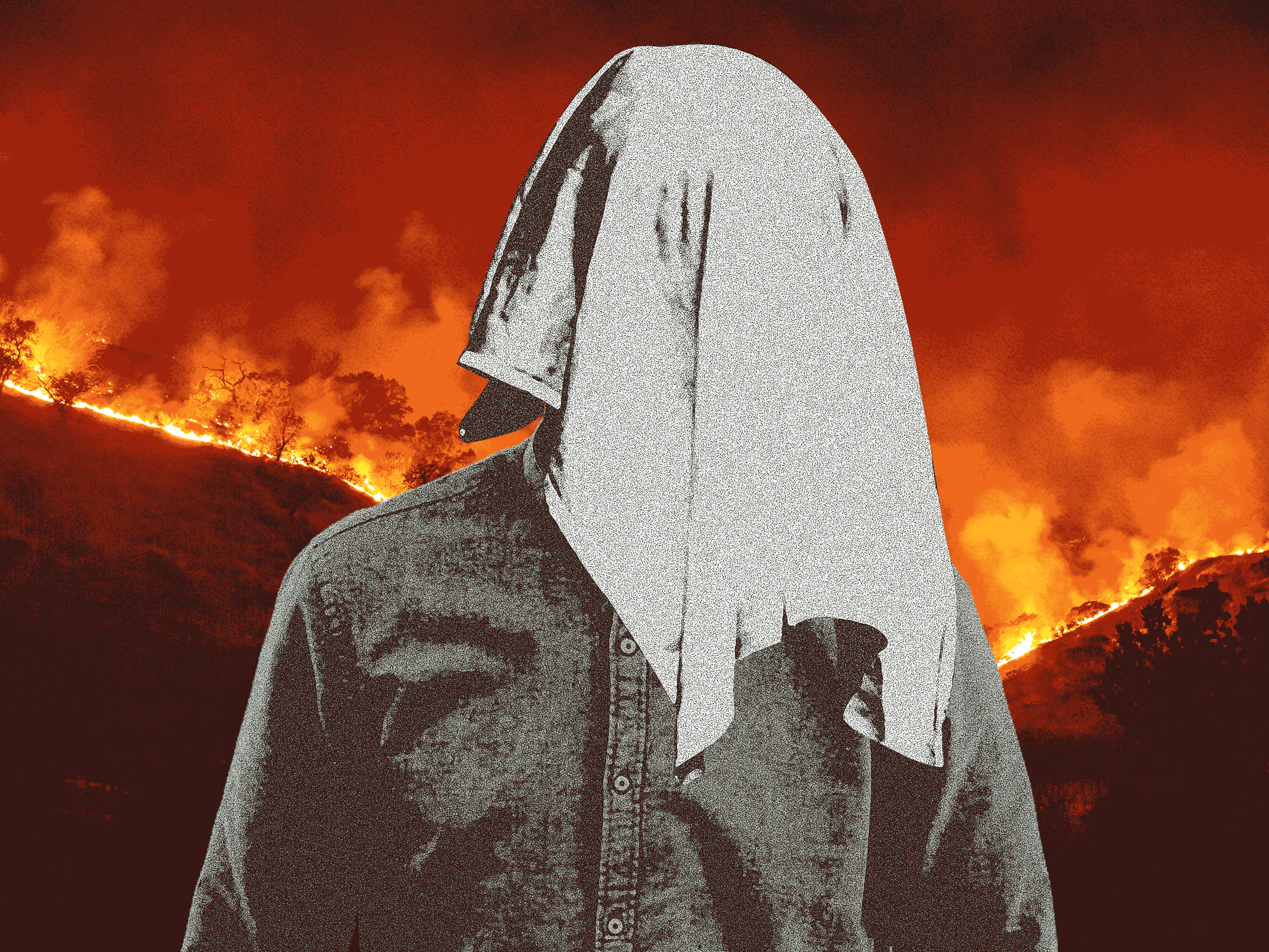 Illustration of a person with a towel over their head in front of a background of burning forest