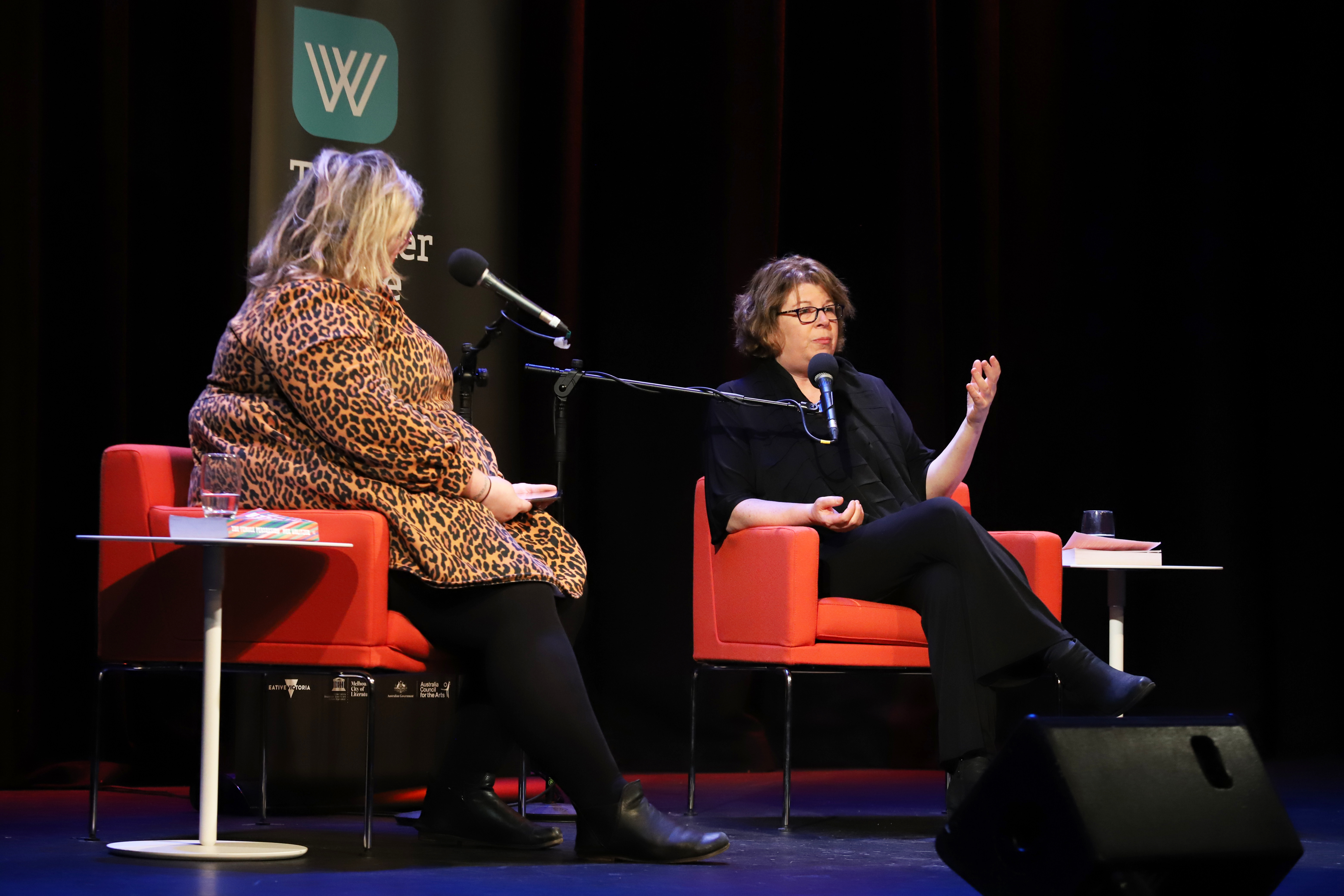 Photo of Brodie Lancaster and Meg Wolitzer on stage