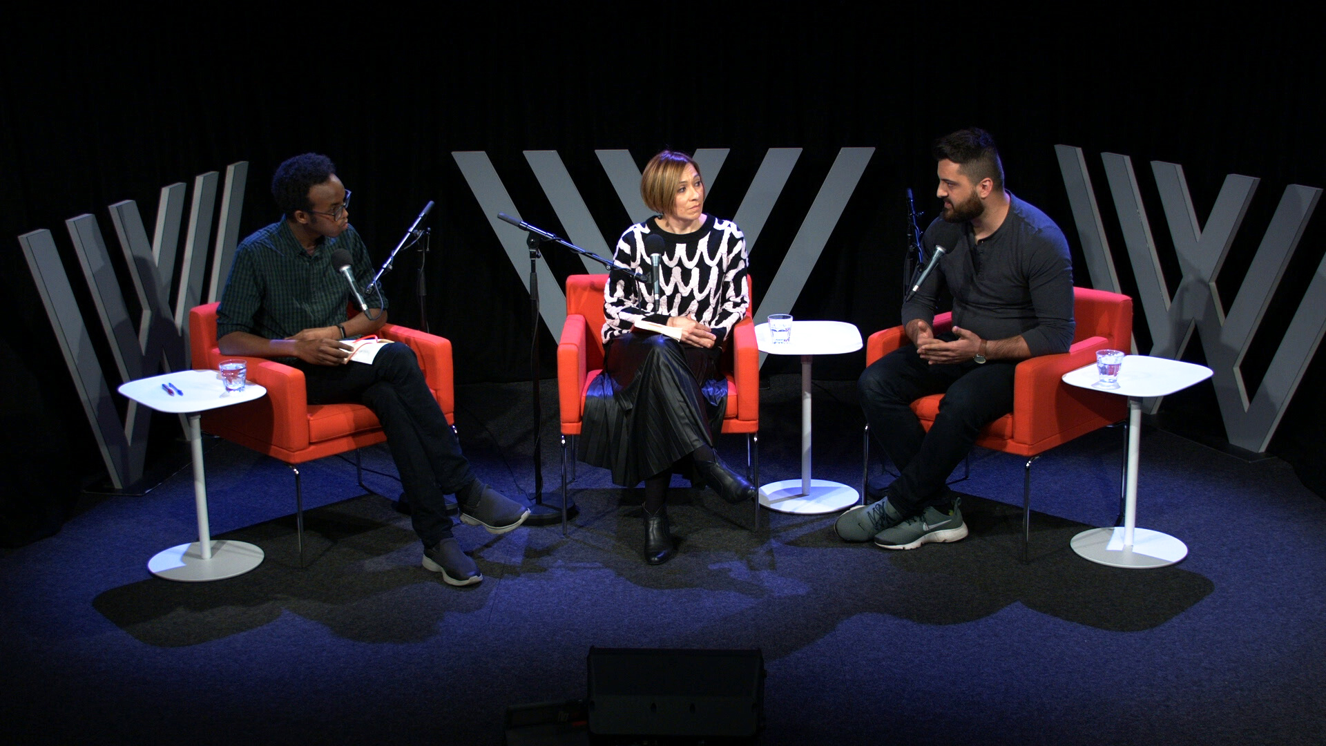 Photograph of Khalid Warsame, Melanie Cheng and Omar Sakr on stage at the Wheeler Centre