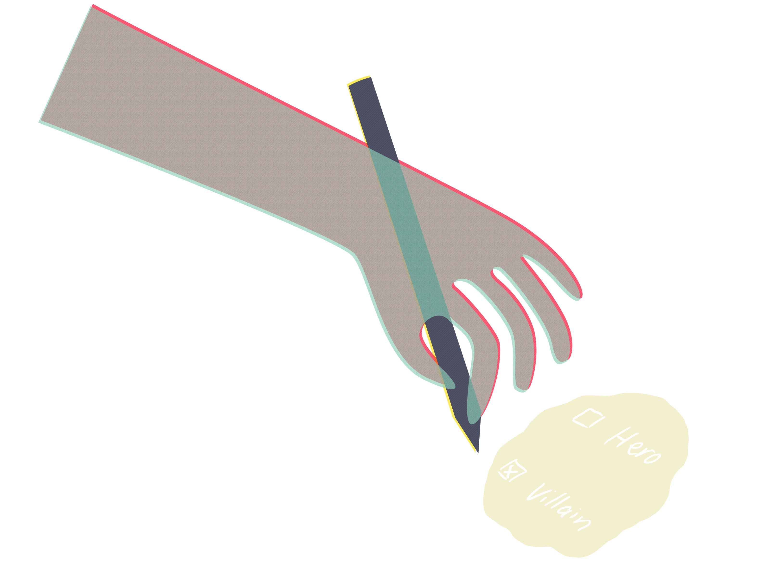 Illustration of a hand holding a pen, choosing 'hero' or 'villain' on a checklist; villain is checked