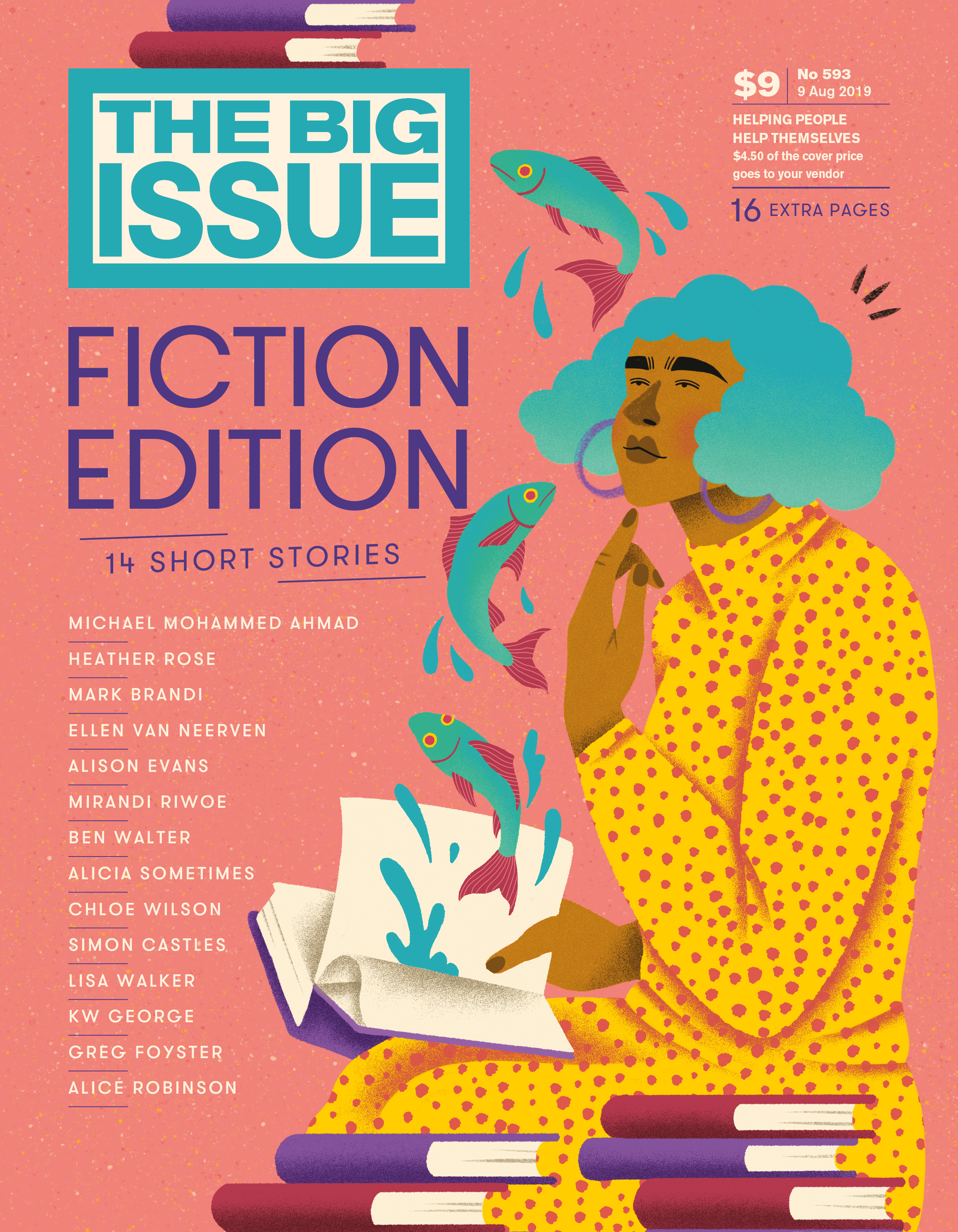 The Big Issue 2019 Fiction Edition Cover Art, featuring an illustration of a woman reading a book as fish jump out of it