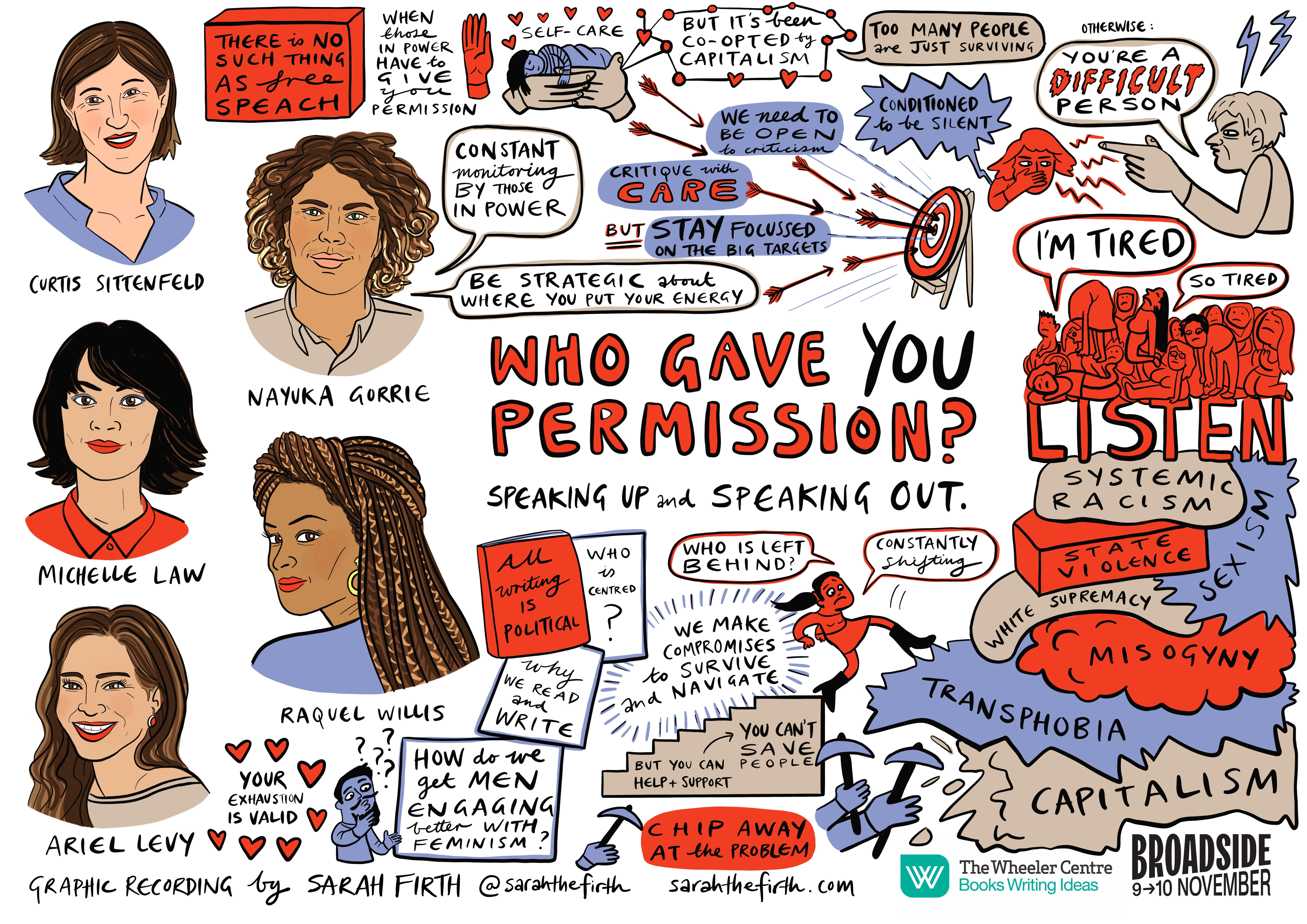 Illustrated portraits of Curtis Sittenfeld, Nayuka Gorrie, Michelle Law, Raquel Willis and Ariel Levy, with cartoons and quotes reflecting their onstage conversation