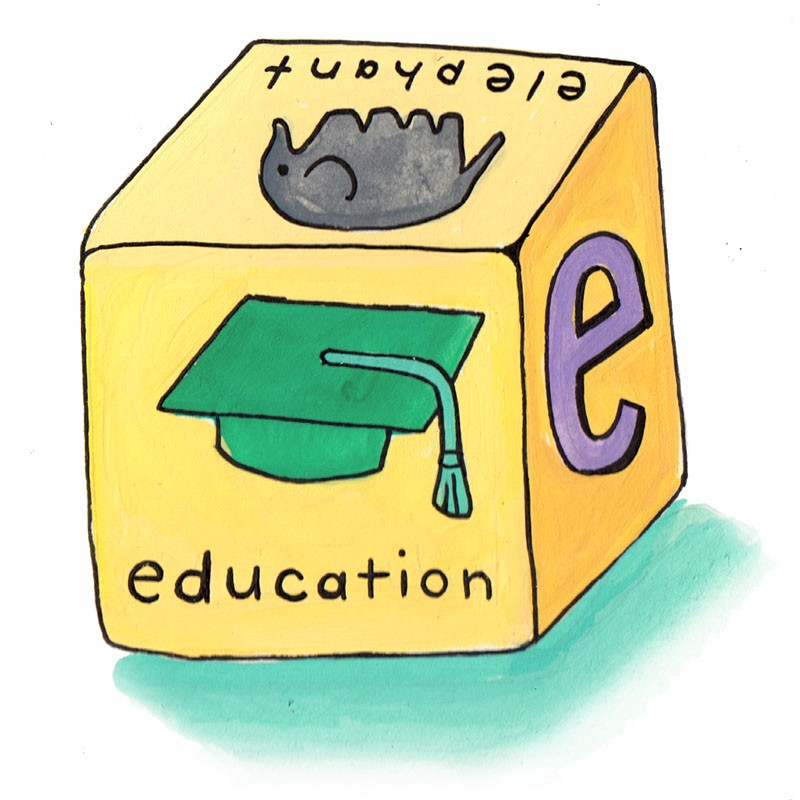 "cube toy showing ""elephant"" and ""education"" on different sides"