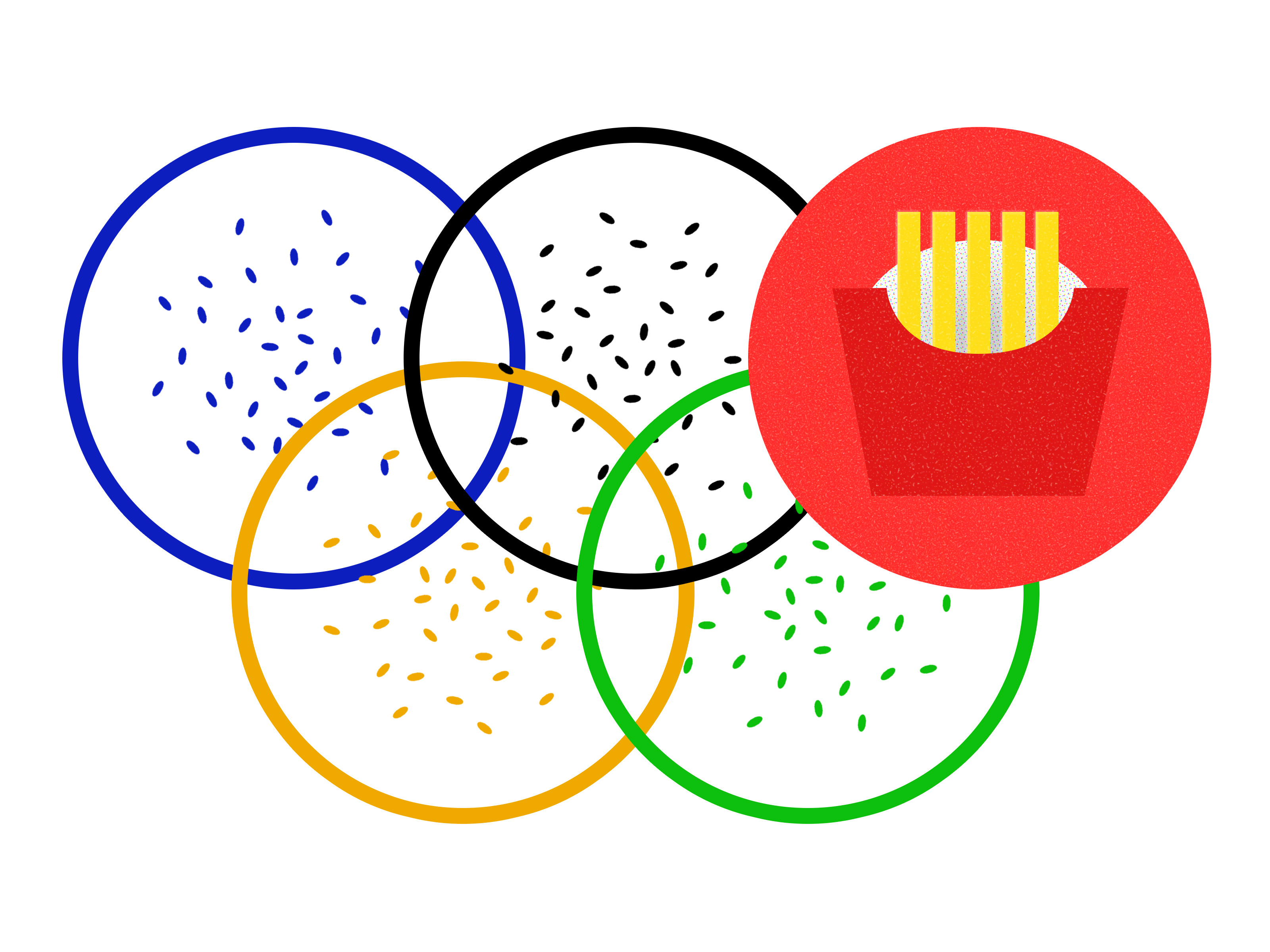 Illustration of Olympic rings dusted with sesame seeds, and a box of McDonald's french fries over the red ring