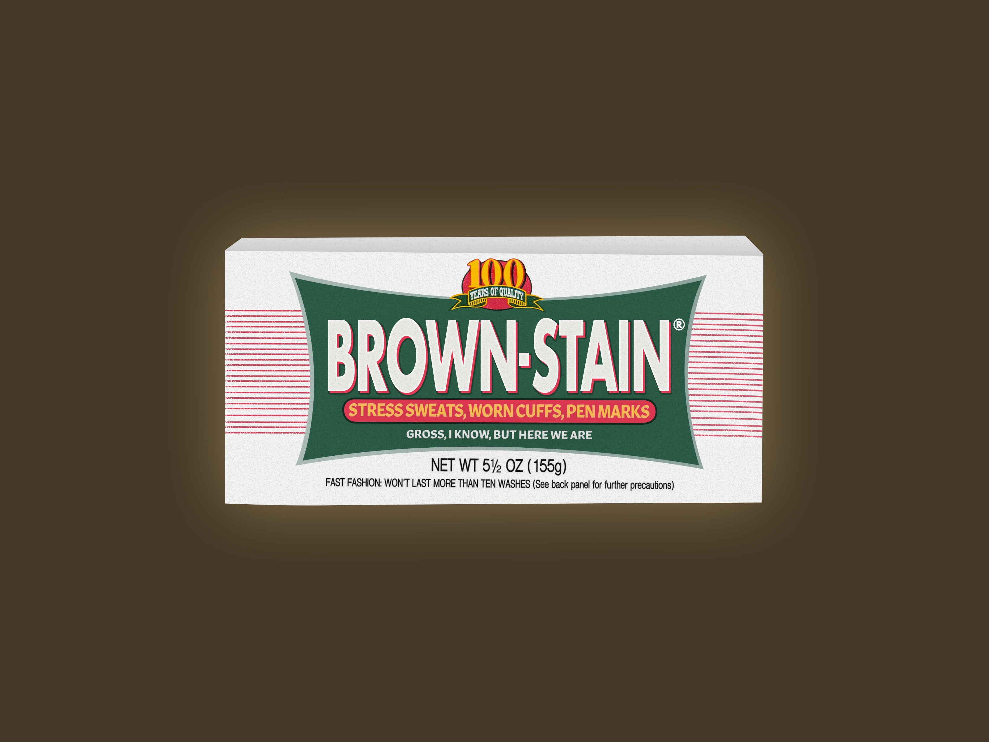 Illustration of a Fels-Naptha-style soap bar with a label that reads 'BROWN STAIN / STRESS SWEATS, WORN CUFFS, PEN MARKS / GROSS, I KNOW, BUT HERE WE ARE'