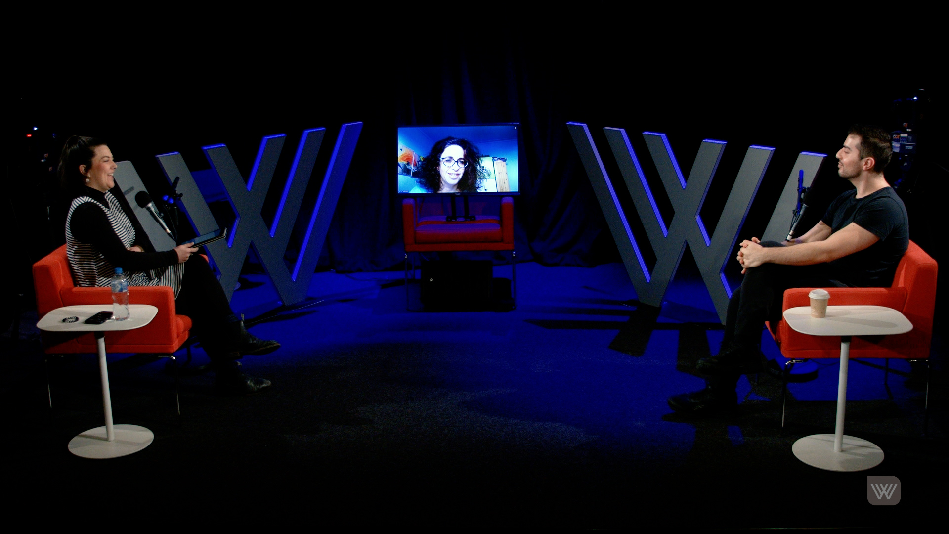 Photo of Veronica Sullivan, Maria Tumarkin (via video chat) and Jean Bachoura – spaced out on the Wheeler Centre's stage