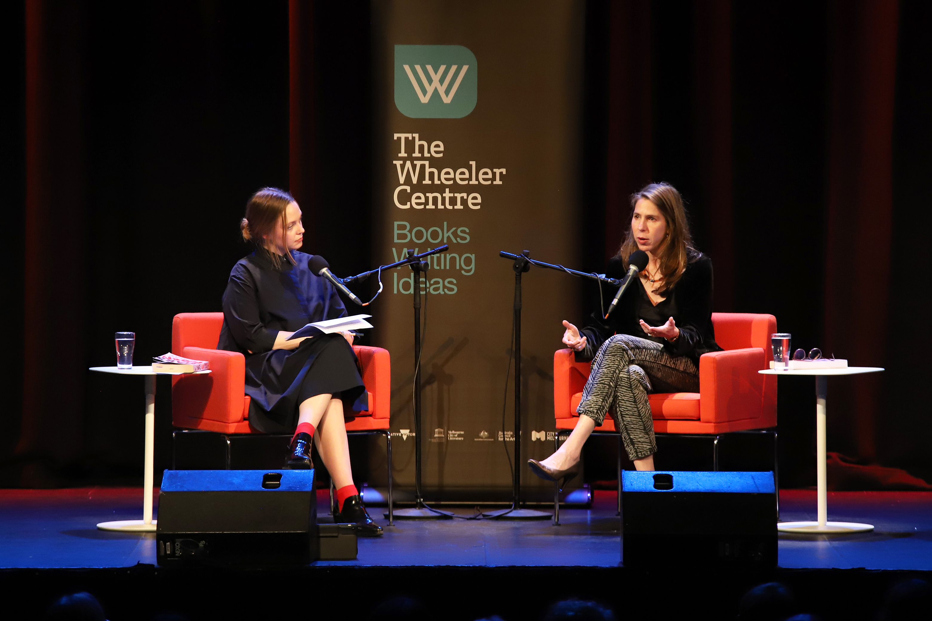 Photo of Ellena Savage and Rachel Kushner on stage
