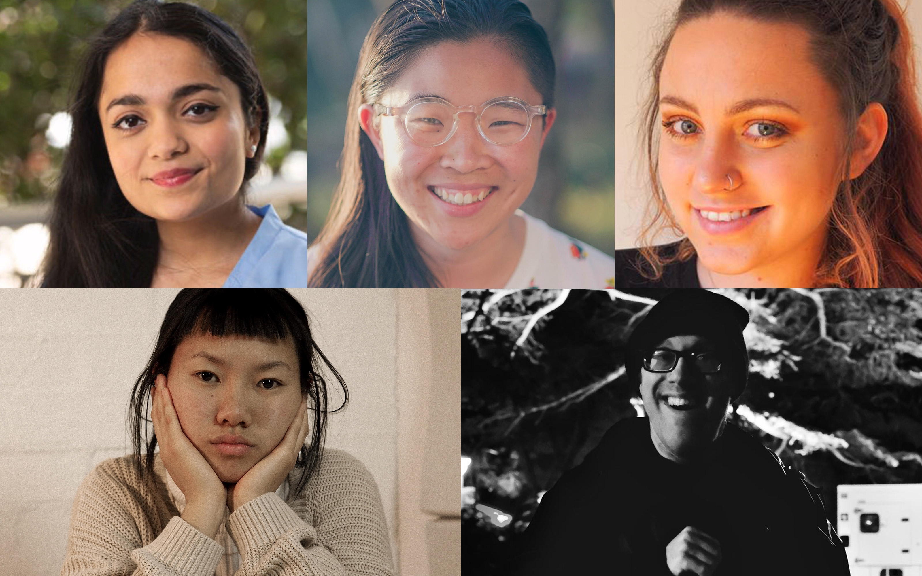 Composite image of Karishma Luthria, Linh Do, Maddison Miller, Nicole Pingon and Phineas Meere