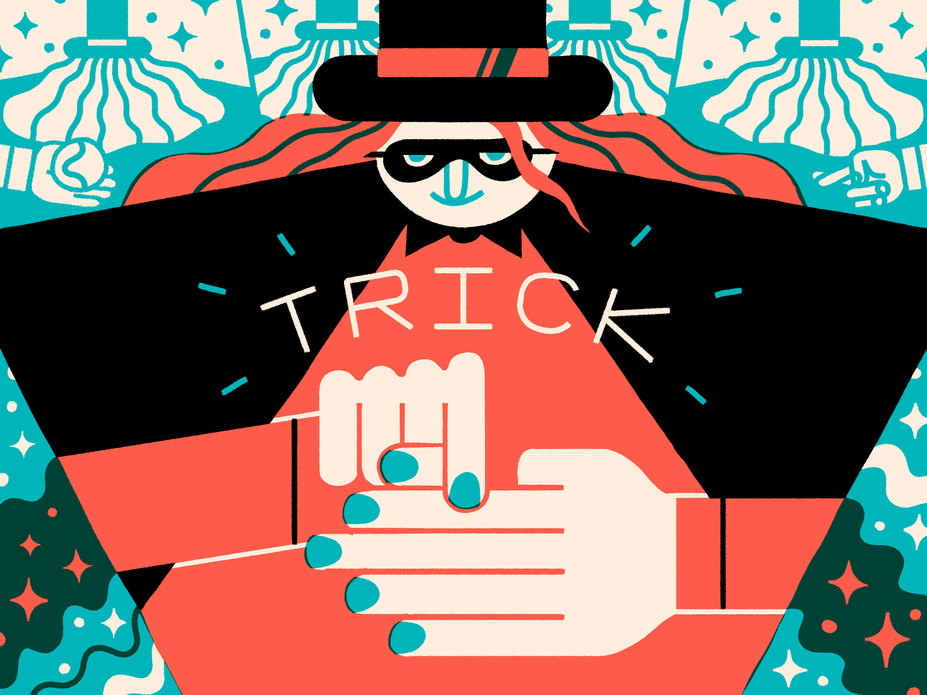 Illustration of a magician in a top hat and mask pretending to remove their thumb, with the word 'Trick' over the top