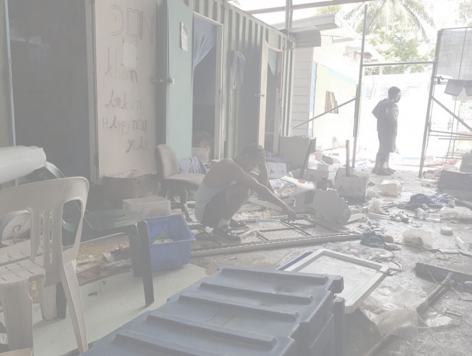 Photo: A mess remains after PNG immigration officials raid and ransack the camp