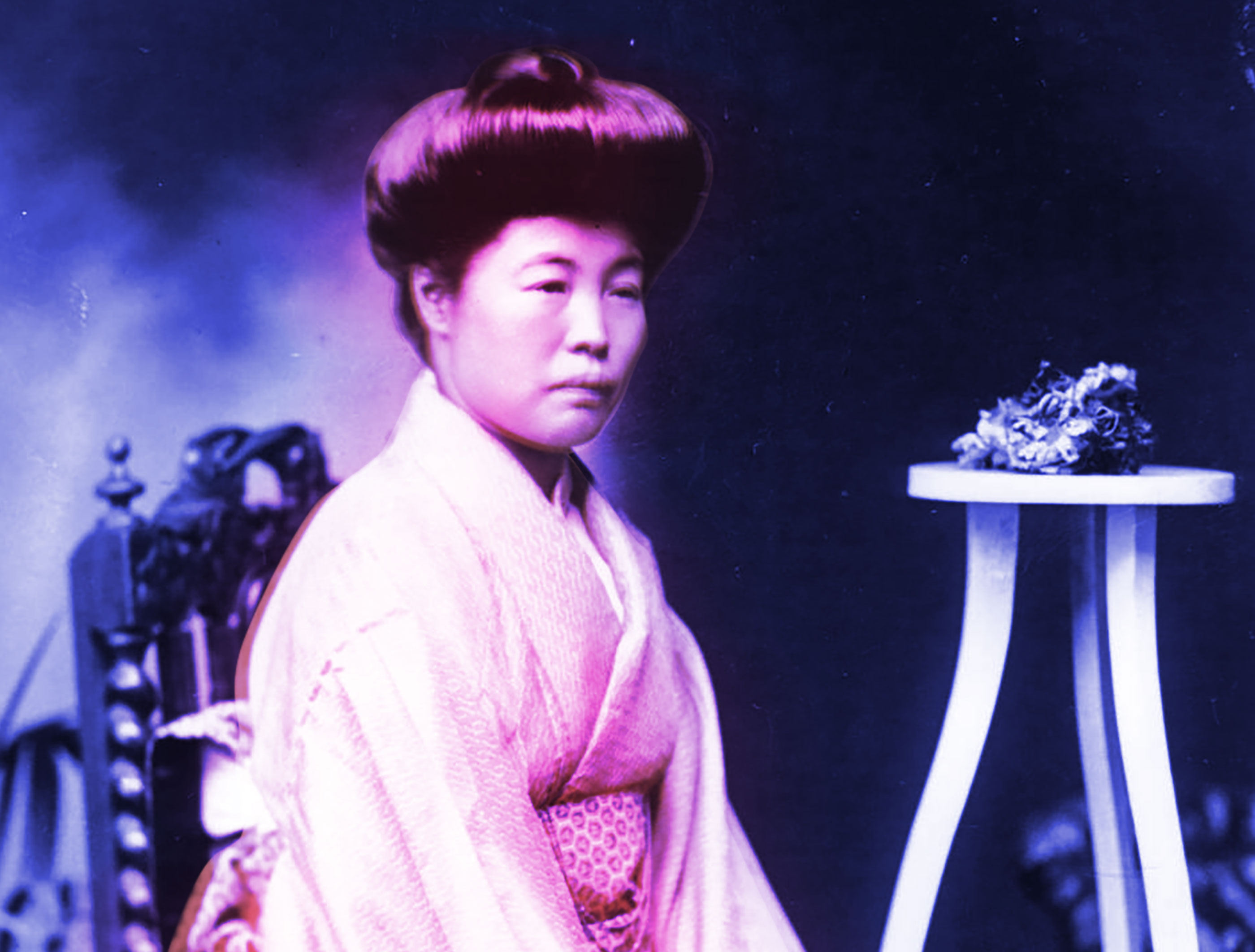 Colour-modified photograph of an early 20th Century Japanese sex worker