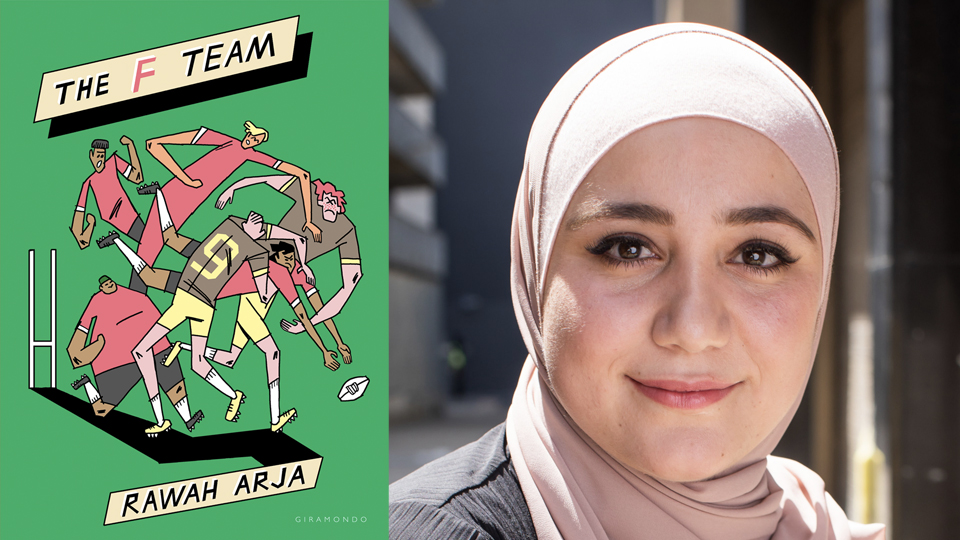 Photograph of Rawah Arja next to the cover of her book, 'The F Team', featuring an illustration of several footballers