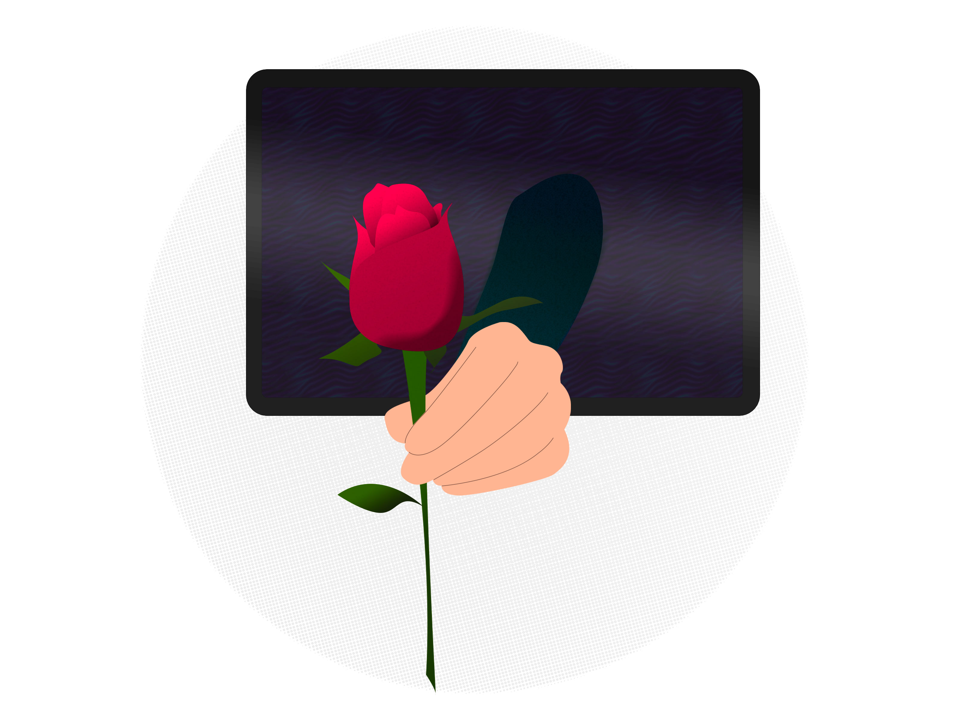 An illustrated hand reaches forth from a TV screen, holding a rose