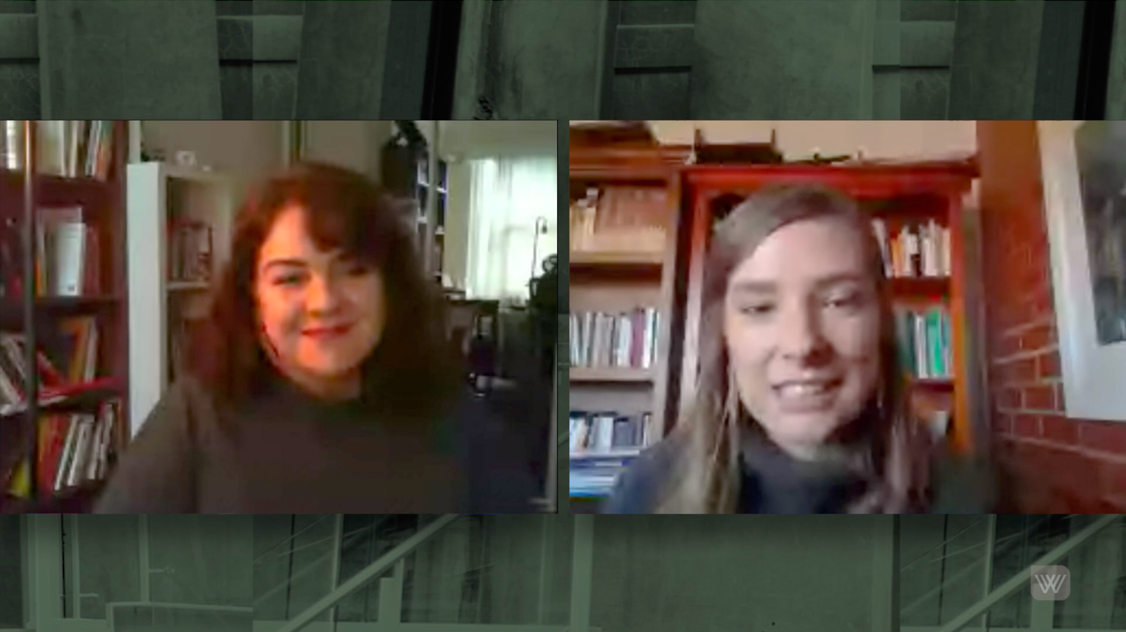Screenshot of Alison Whittaker and Evelyn Araluen in conversation