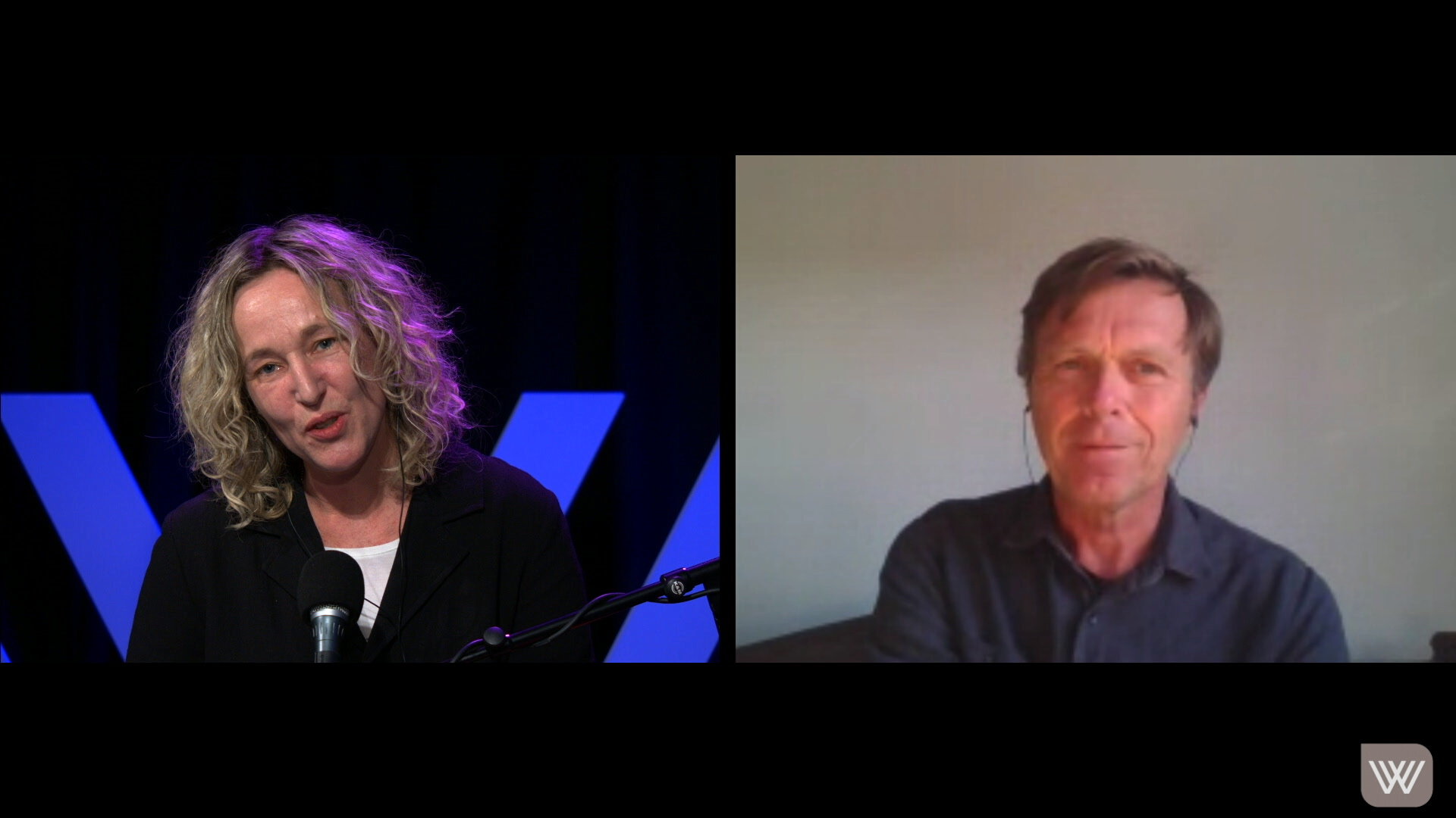 Screenshot of Sally Warhaft, in our studio, and Tom Porteous, via video link