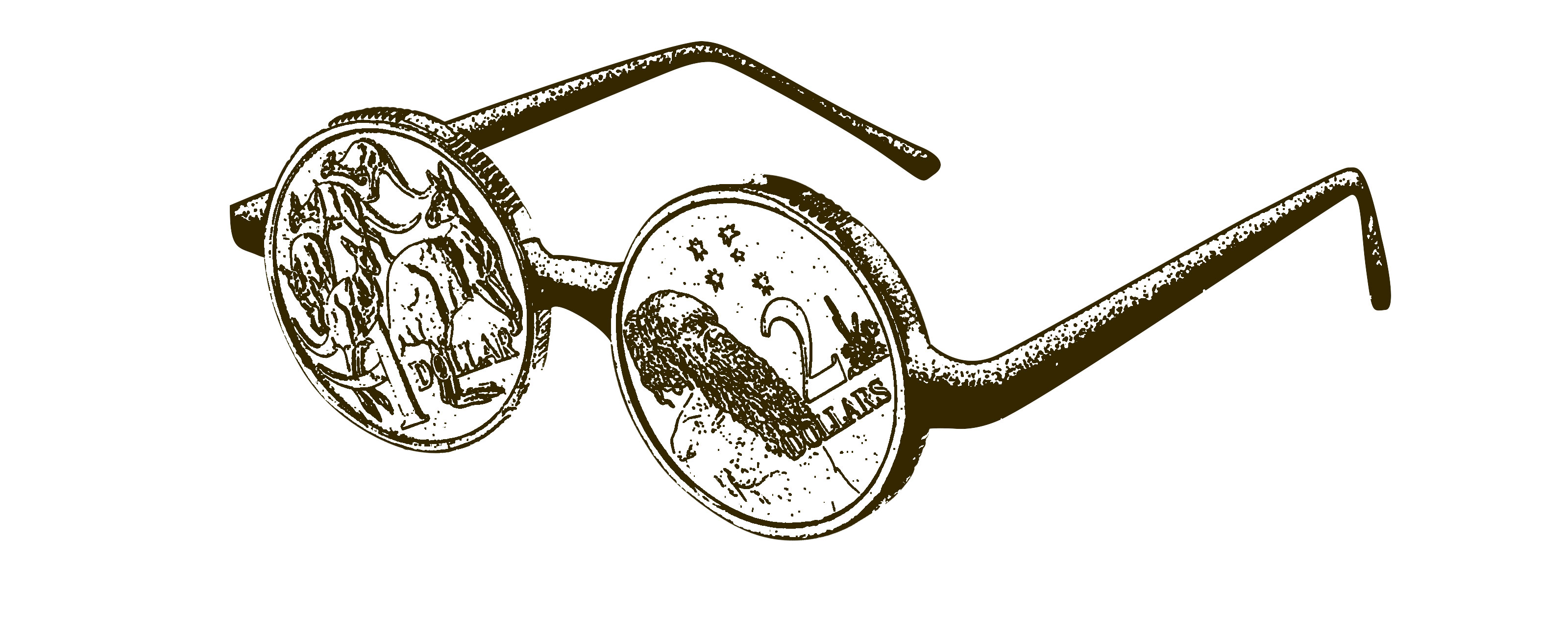 Illustration of a pair of spectacles with coins for lenses
