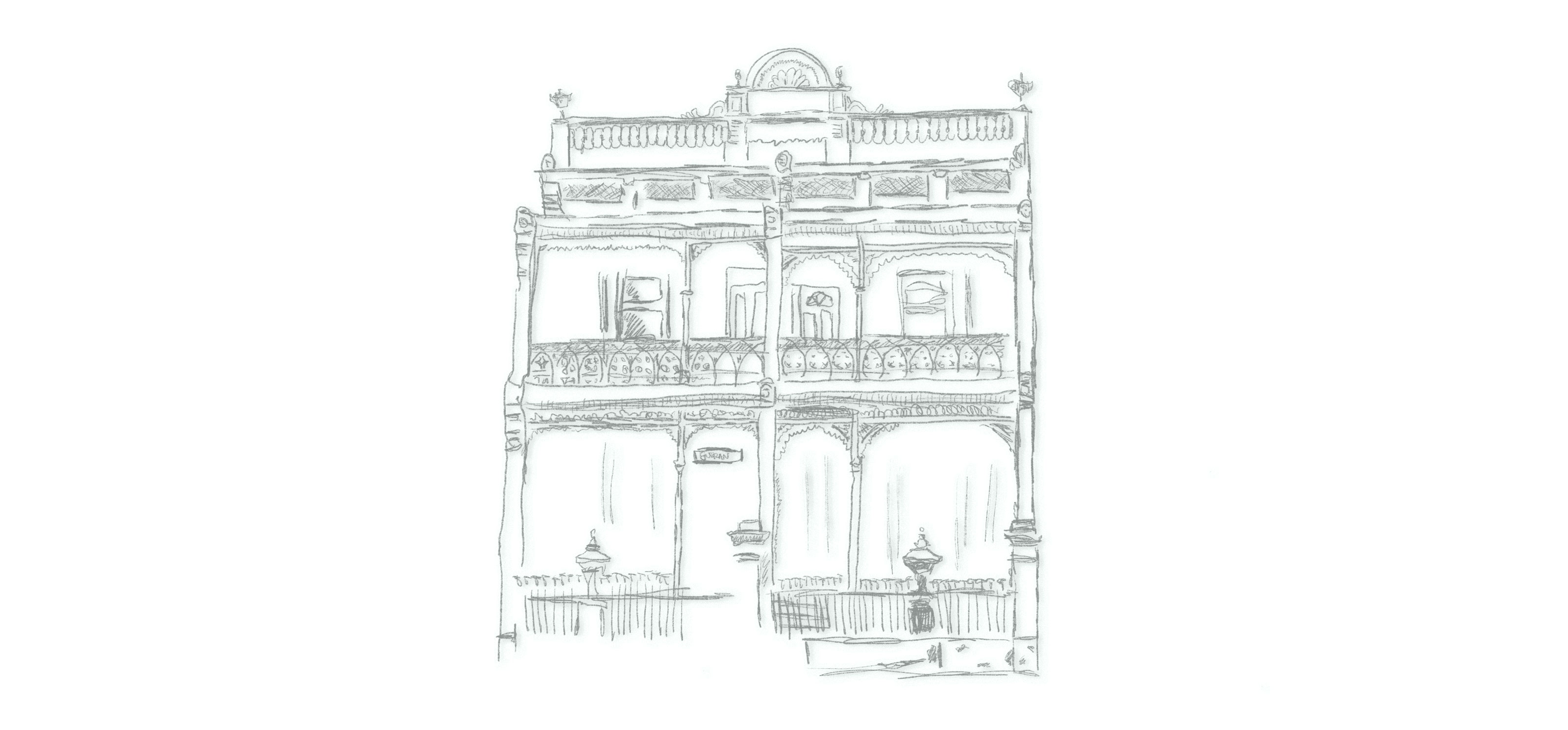 Illustration of a double Victorian terrace townhouse